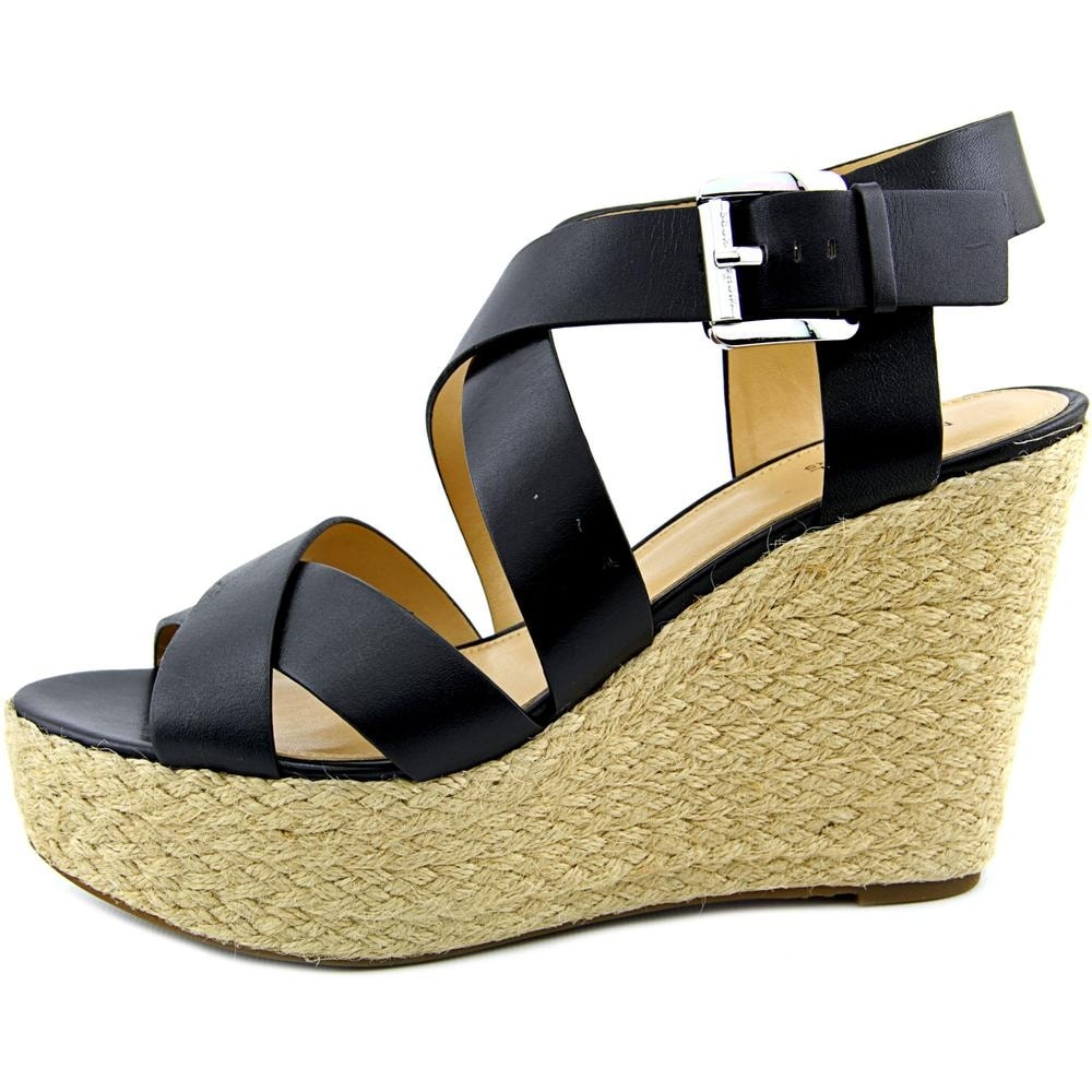 8b3cc1b68fd Shop Michael Michael Kors Celia Mid Wedge Women Open Toe Leather Black Wedge  Sandal - Free Shipping On Orders Over  45 - Overstock.com - 14496130