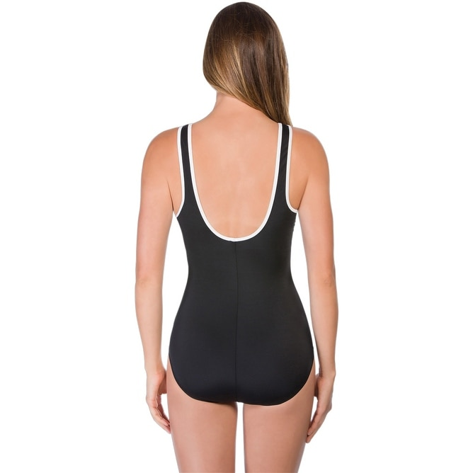 e63bfe7f9ee89 Shop Chlorine Resistant Reebok Zig Zag Zip Front One Piece Swimsuit 8 -  Black - Free Shipping Today - Overstock - 17662422