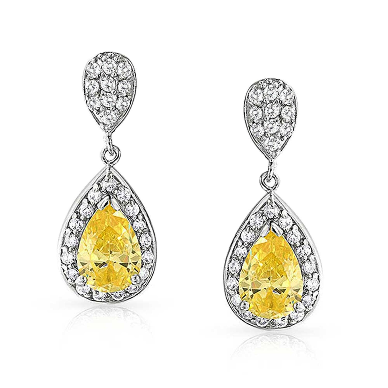 Pave Cz Halo Teardrop Cubic Zirconia Canary Yellow Dangle Drop Earrings For Women 925 Sterling Silver