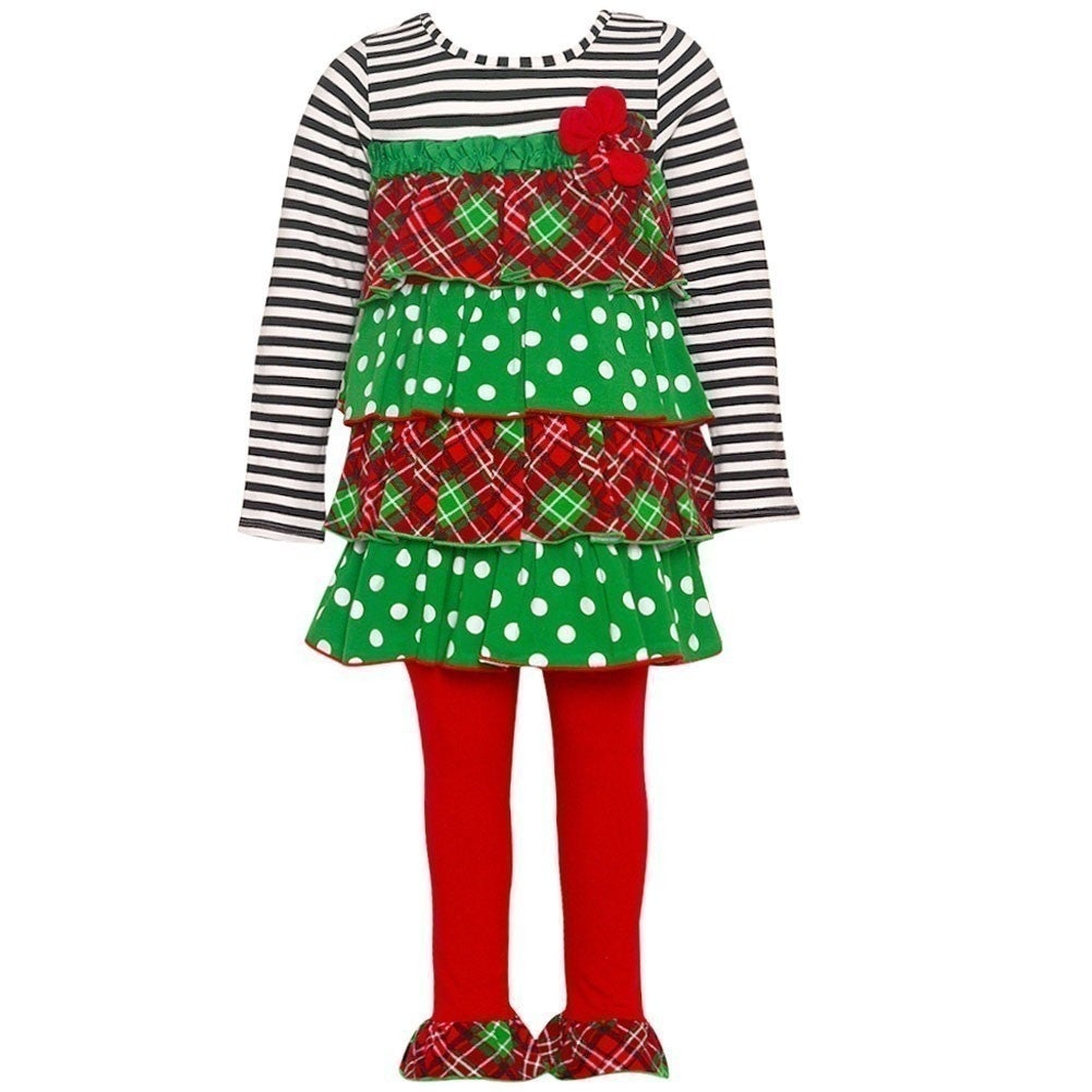 49d2abe1a Shop Bonnie Jean Baby Girls Red Green Dotted Plaid Tiered Tunic ...