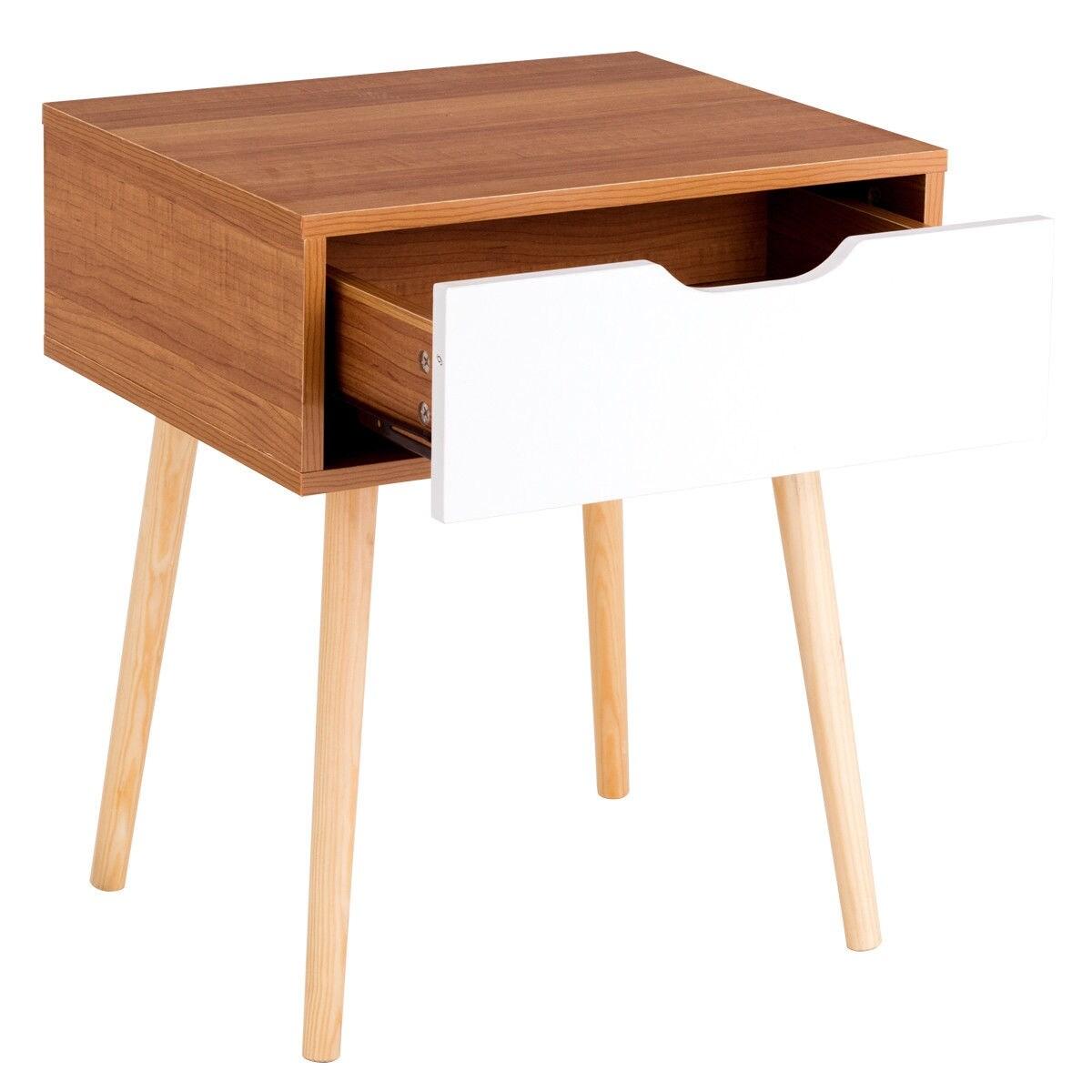 Costway Nightstand End Side Sofa Table Storage Drawer Living Room ...