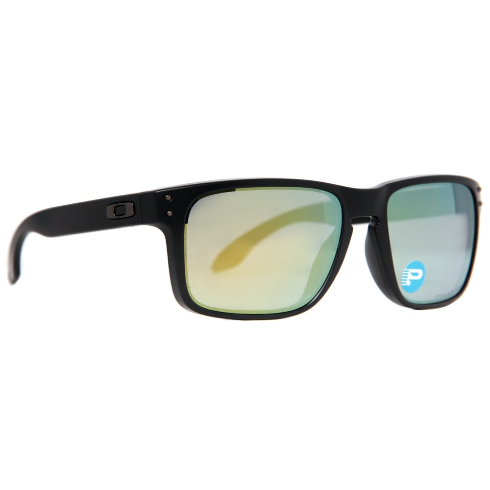 4b1dab22e93 Shop Oakley Holbrook OO9102-50 Matte Black Emerald Iridium Polarized  Sunglasses - Matte Black - 55mm-18mm-137mm - Free Shipping Today -  Overstock.com - ...
