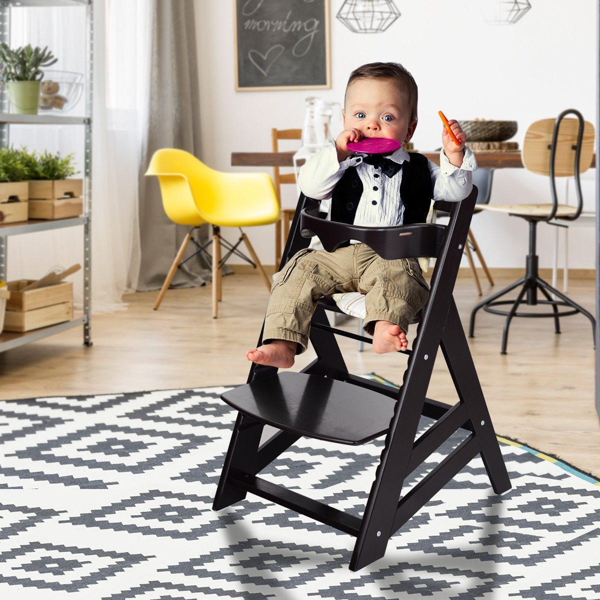 Shop Costway Baby Toddler Wooden Highchair Dining Chair Adjustable Height w/ Removeable Tray - Free Shipping Today - Overstock.com - 23081677 & Shop Costway Baby Toddler Wooden Highchair Dining Chair Adjustable ...