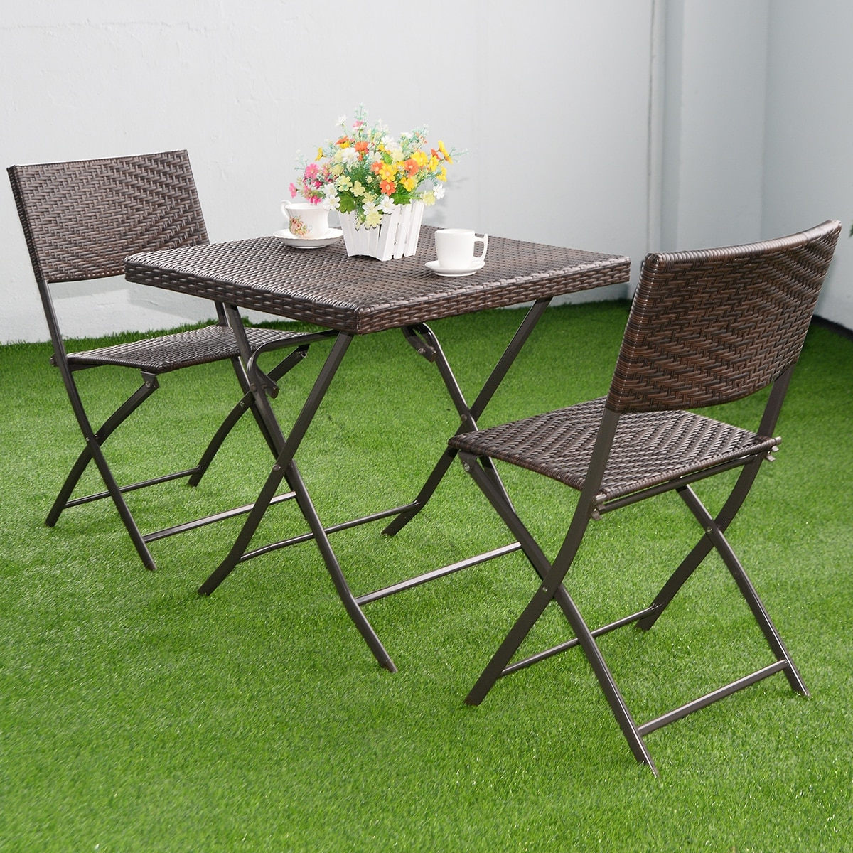 Shop Costway 3 PC Outdoor Folding Table Chair Furniture Set Rattan Wicker Bistro Patio Brown - Free Shipping Today - Overstock - 16339822 & Shop Costway 3 PC Outdoor Folding Table Chair Furniture Set Rattan ...