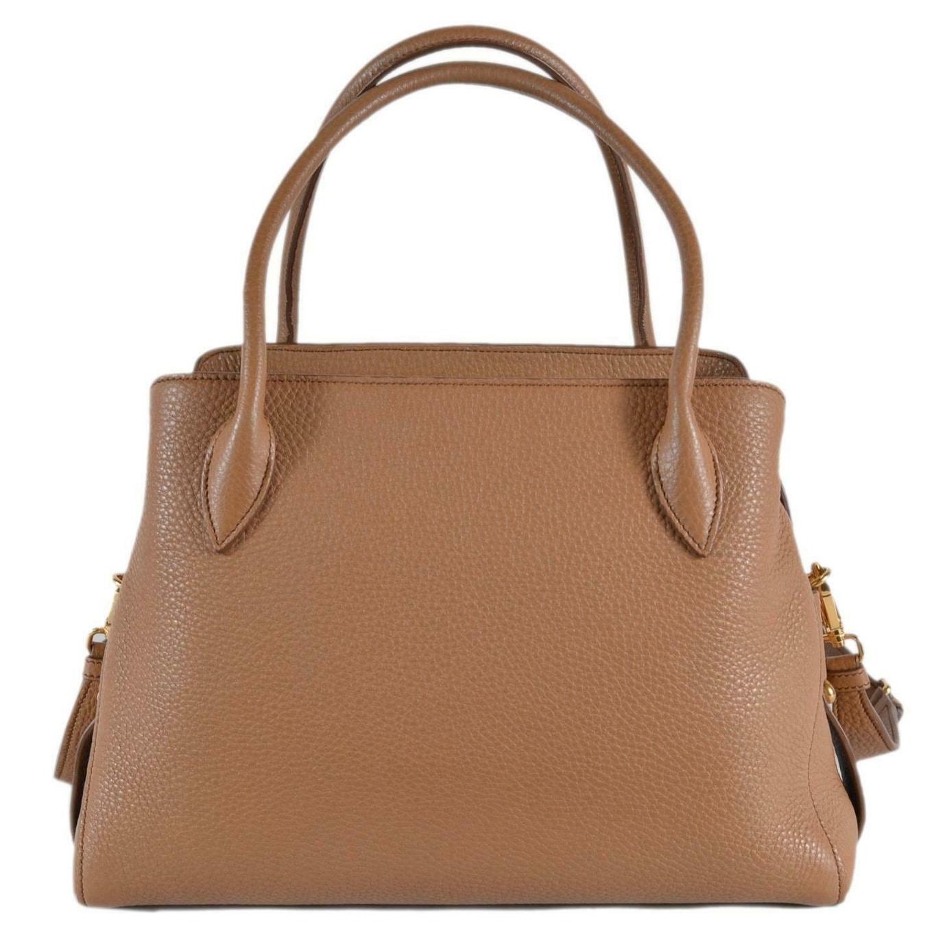 1aaa01d341dd18 Shop Prada 1BA127 Vitello Daino Leather Center Zip 2-Way Handbag Purse Bag  - Beige/Brown - Free Shipping Today - Overstock - 27425095