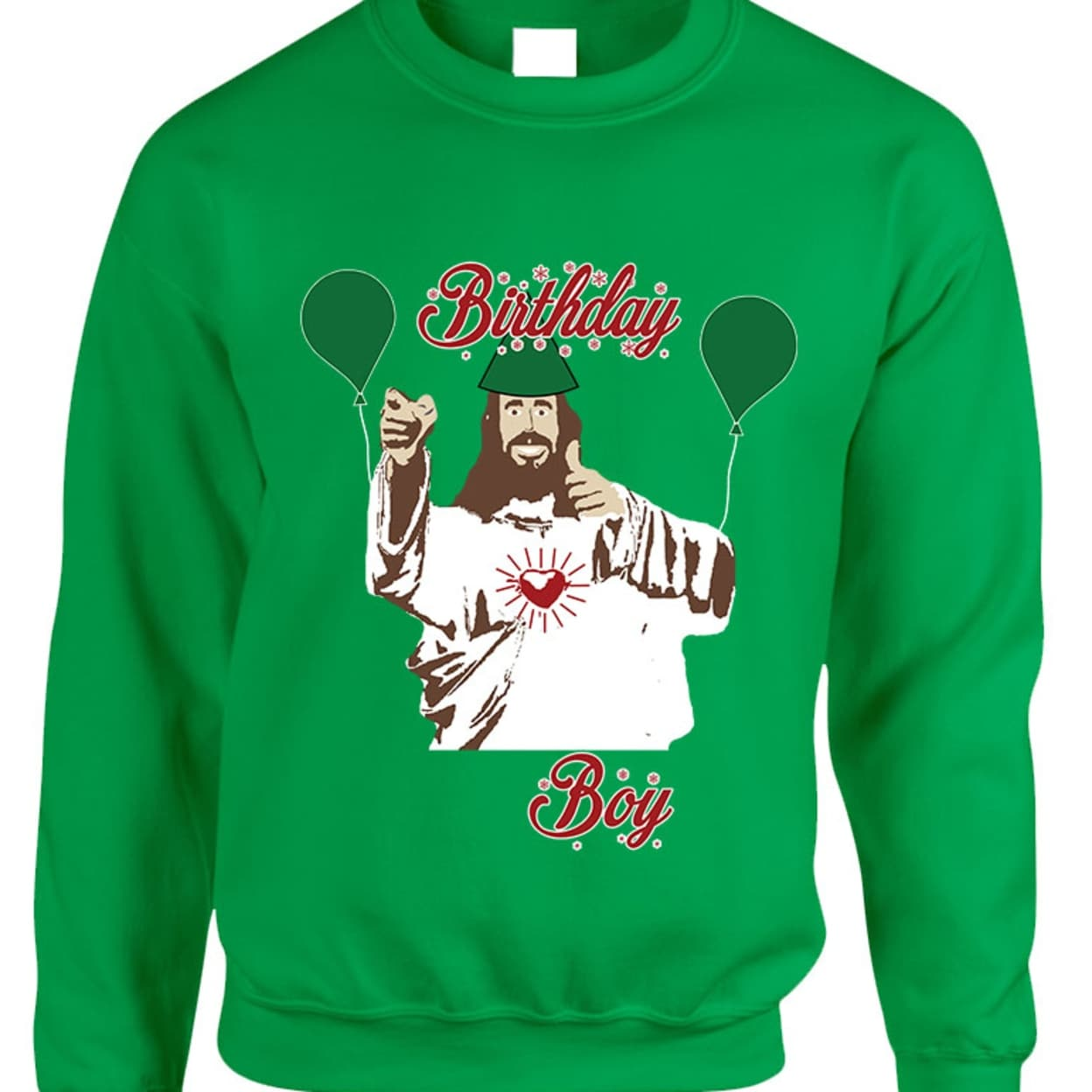 Shop Adult Crewneck Birthday Boy Jesus Ugly Christmas Sweater - Free ...