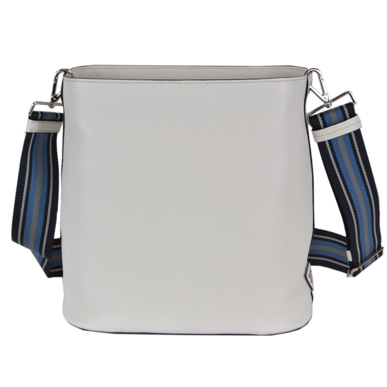 e07f961a2051c7 Shop Prada 1BE023 Vitello Secchiello White Leather Embossed Logo Crossbody  Purse - Talco White - Free Shipping Today - Overstock - 27974280