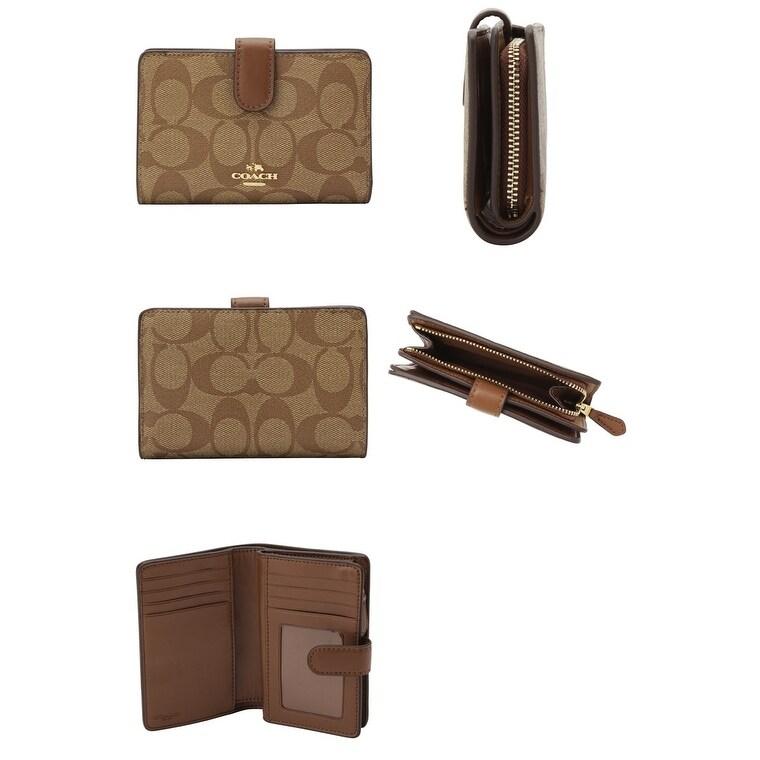 15416a9cd498 Shop Coach Signature PVC Medium Corner Zip Wallet - Free Shipping Today -  Overstock - 21868782