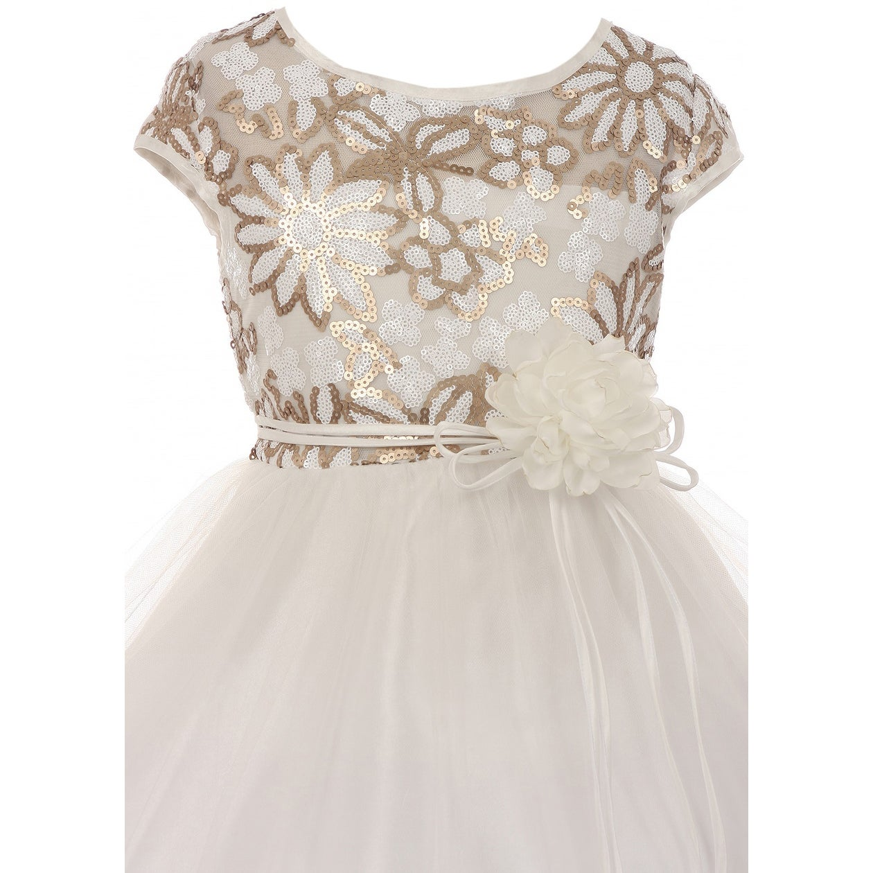 Shop Neckline Floral Sequin Pageant Flower Girl Dress Off White Jks