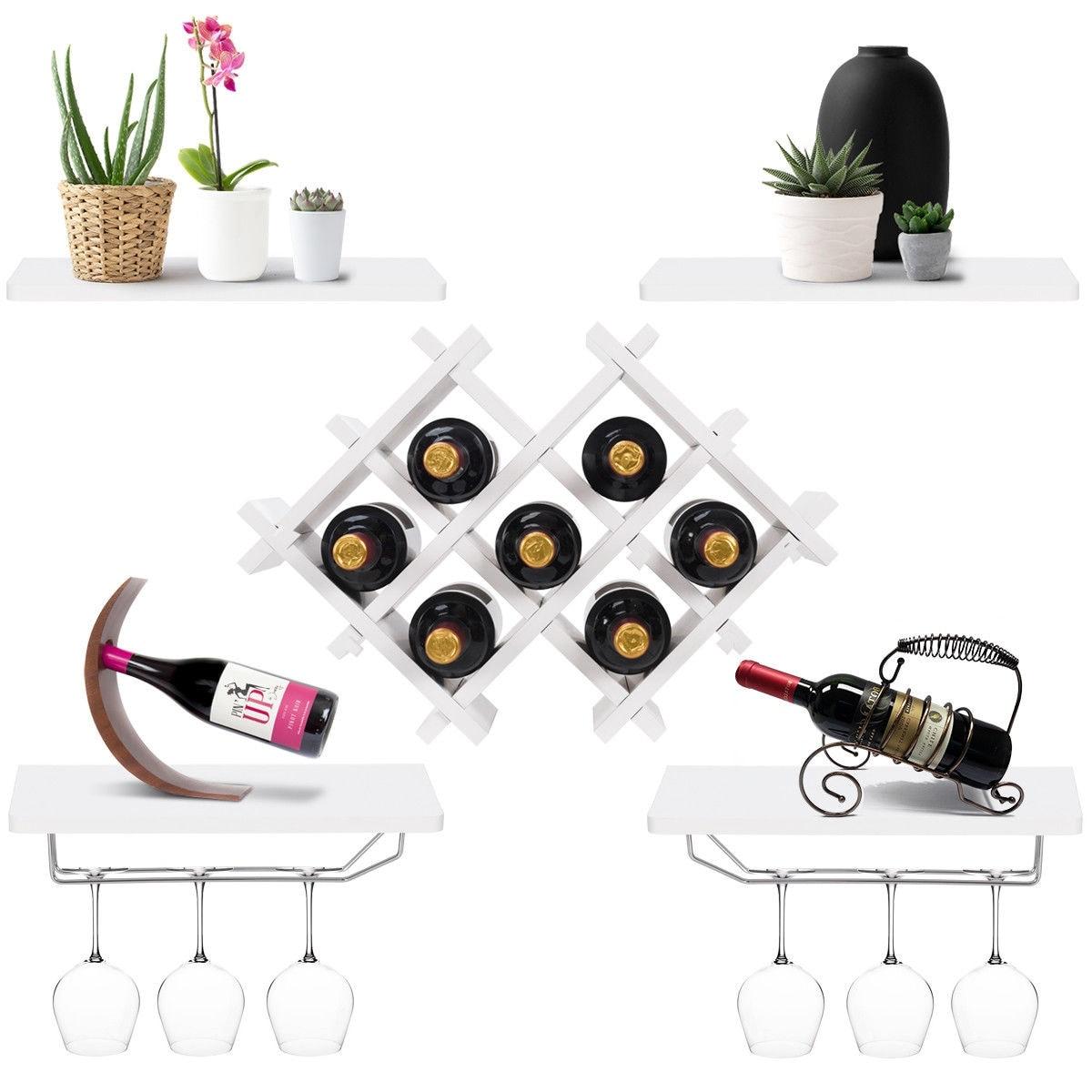 Shop Gymax Set Of 5 Wall Mount Wine Rack Set Storage Shelves And