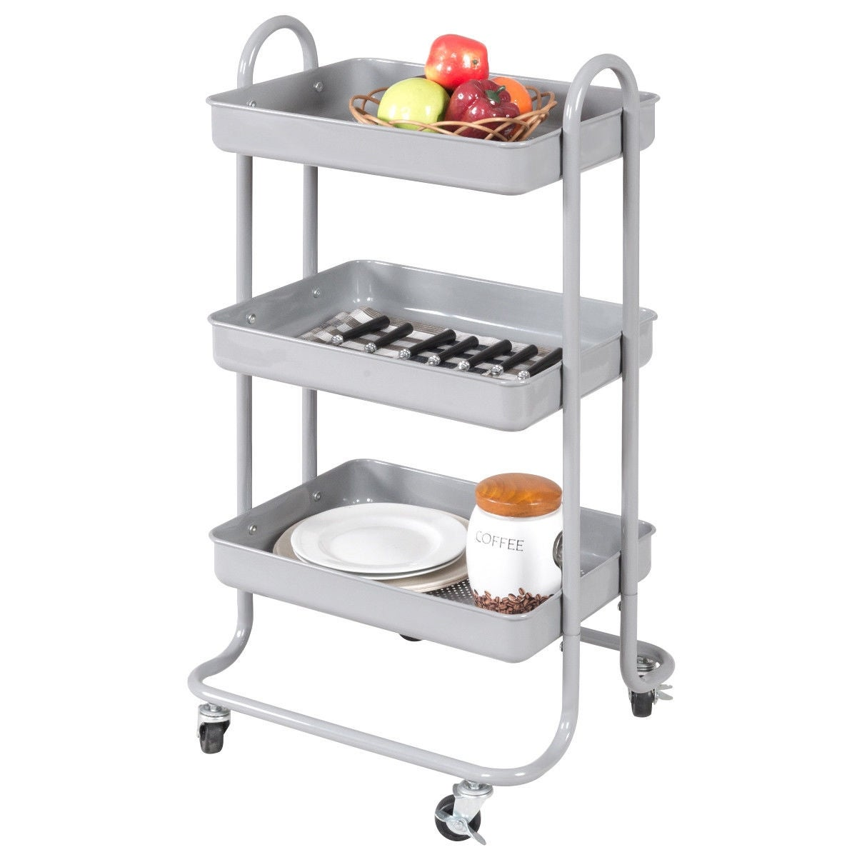 Shop costway 3 tier steel rolling kitchen trolley cart storage serving island utility gray free shipping today overstock com 18531914