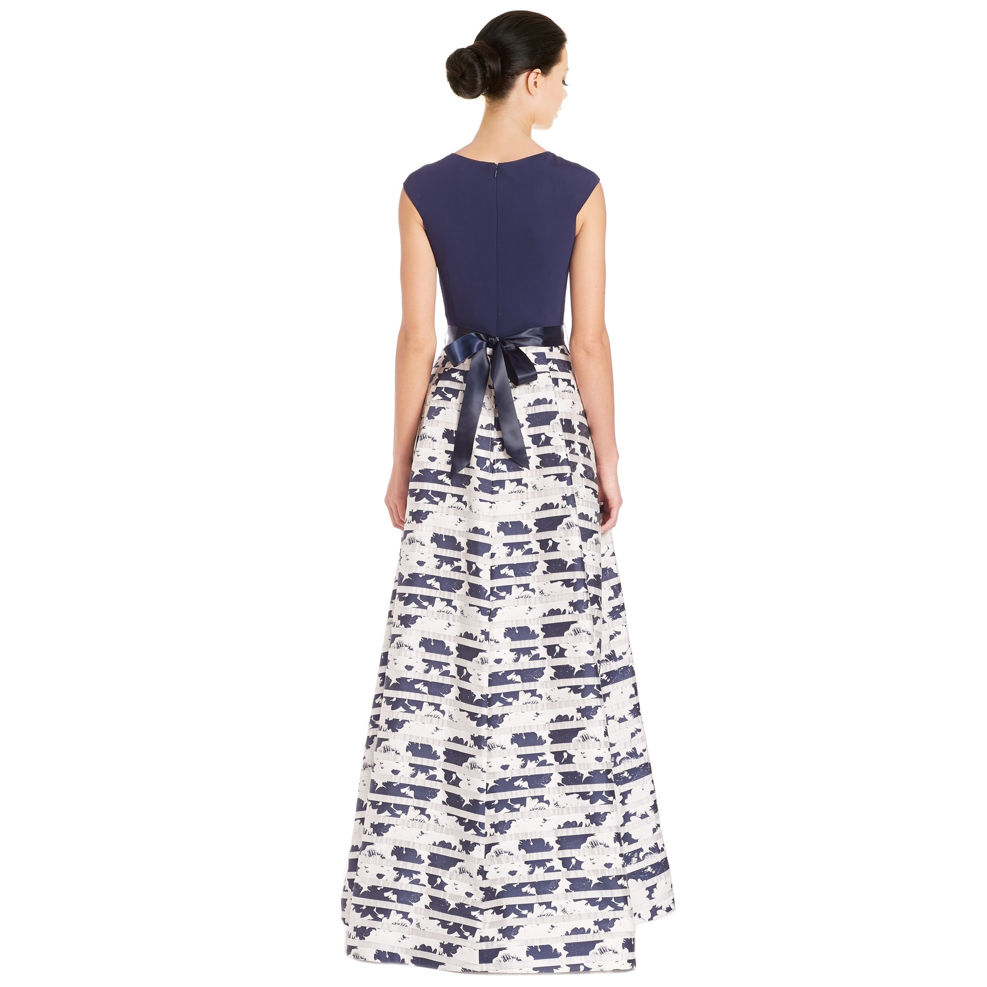 Shop Teri Jon Knot Front V-Neck Printed Ball Evening Gown Dress Navy ...