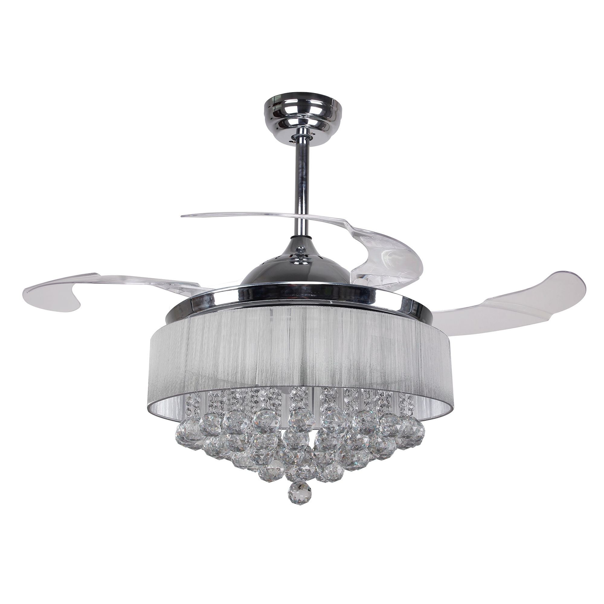 Modern 42 5 inch Foldable 4 Blades LED Ceiling Fans Crystal