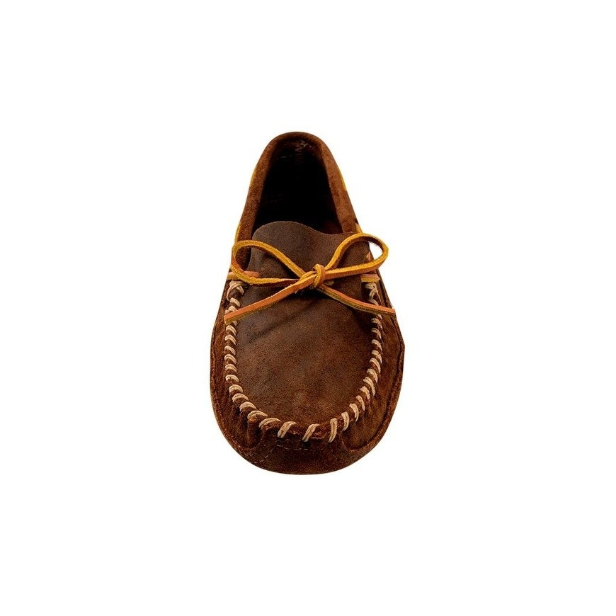 5daf0bb083a0 Shop Minnetonka Shoes Mens Double Bottom Warm Softsole Leather Brown - Free  Shipping Today - Overstock - 22307446