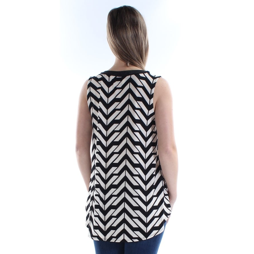 1efc2a82eb4ca Shop ALFANI Womens Black Beaded Printed Sleeveless V Neck Top Size  M -  Free Shipping On Orders Over  45 - Overstock.com - 23450280