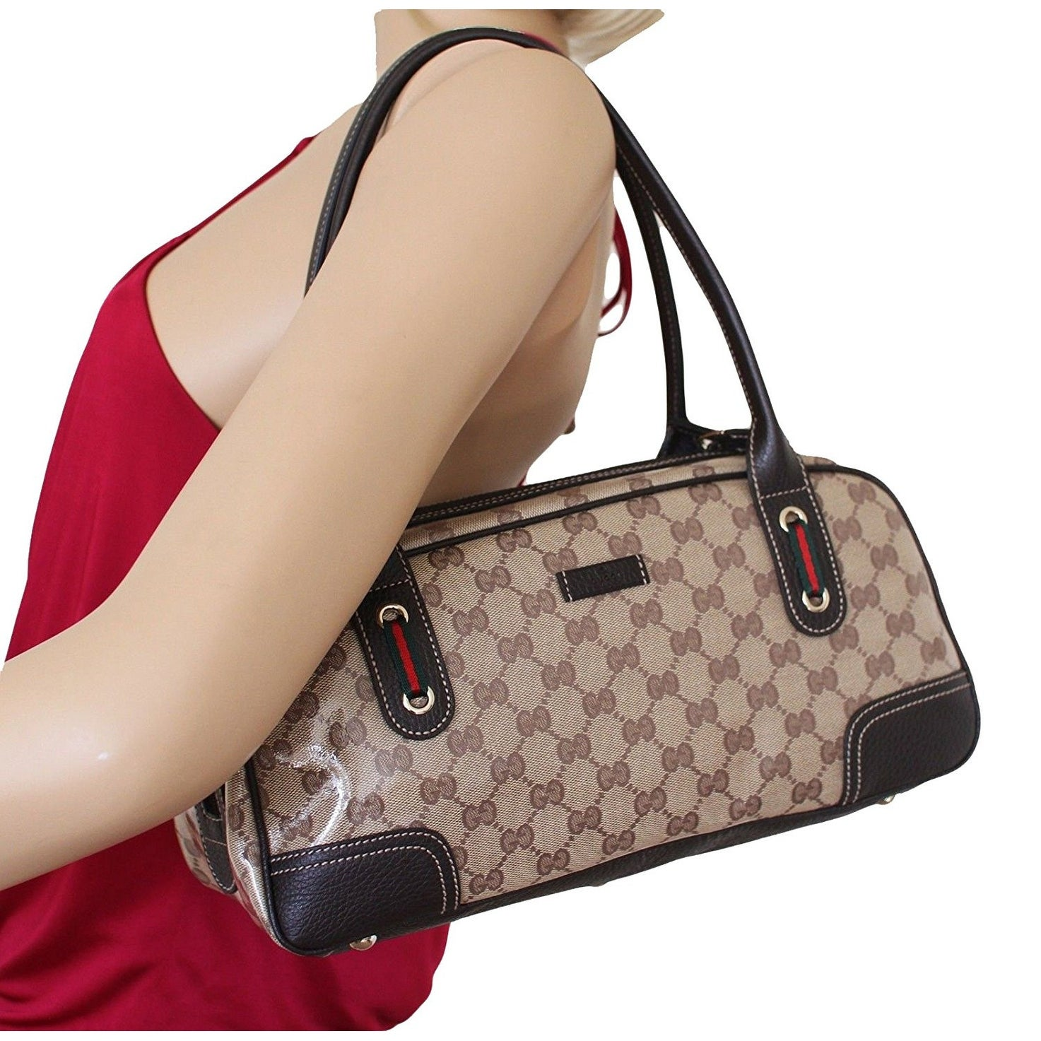 d8c29b1b0bf762 Shop Gucci Crystal GG Princy Brown Boston Bag 293594 - Free Shipping Today  - Overstock - 15427393