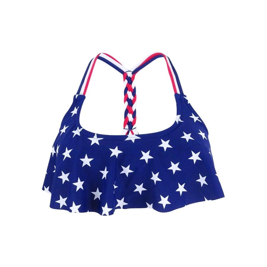 b778ce0231cb4 Shop California Waves Women's Stars-and-Stripes Flounce Bikini Top (XS,  Multi) - Multi - XS - Free Shipping On Orders Over $45 - Overstock -  21259575