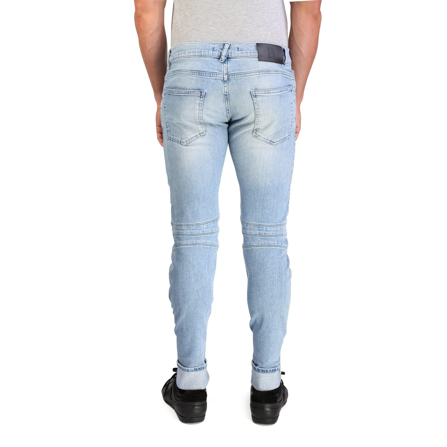 873bd853 Shop Pierre Balmain Men's Skinny Fit Biker Denim Jeans Pants Light Blue -  Free Shipping Today - Overstock - 17179783