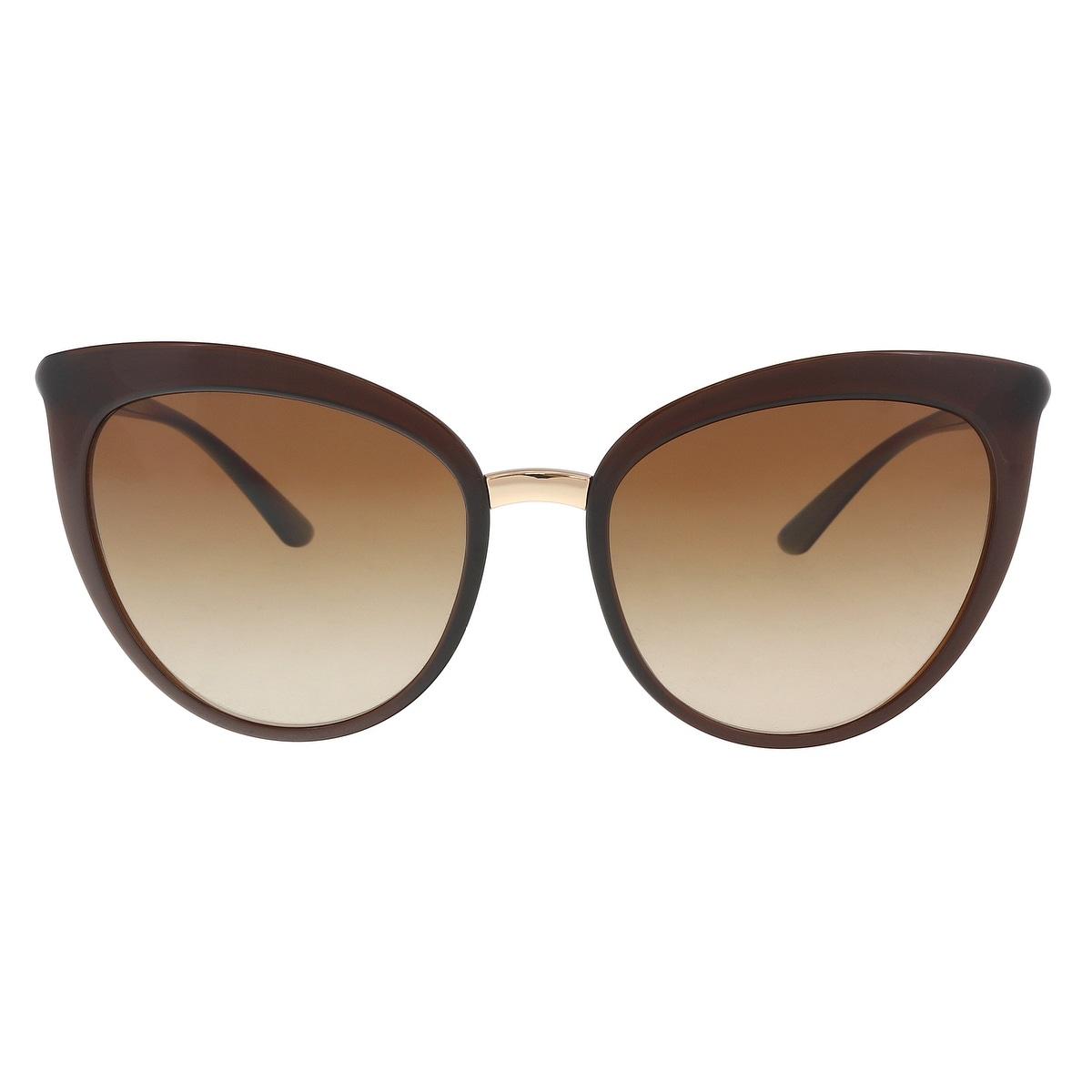 8e3255b5e30b Shop Dolce & Gabbana DG6113 315913 Transparent Brown Cat Eye Sunglasses -  55-18-140 - Ships To Canada - Overstock - 21158219