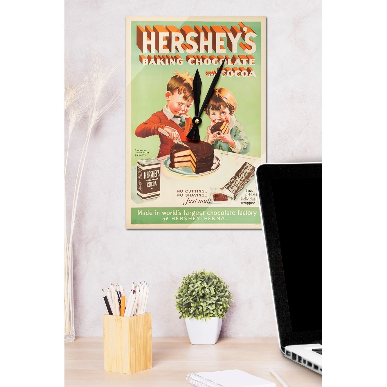 Hersheys Baking Chocolate & Cocoa 1934 Vintage Ad (Acrylic Wall Clock) -  acrylic wall clock