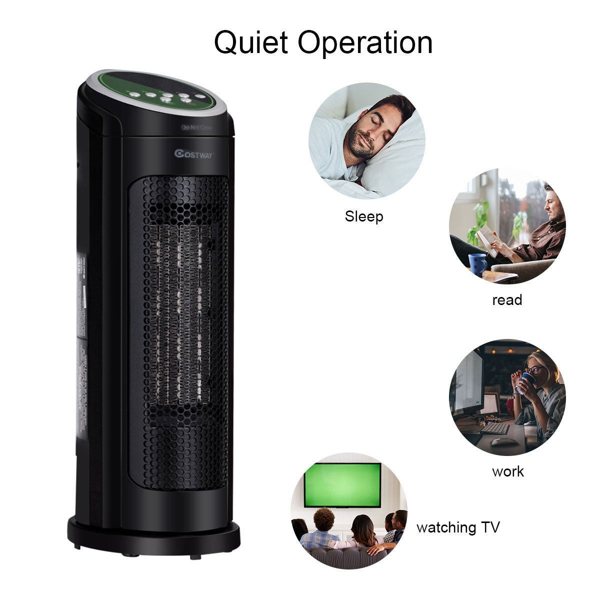 6e447dde61a Shop Costway Portable Oscillating PTC Ceramic Space Heater 1500W LED 12H  Timer Remote Control - Black - On Sale - Free Shipping Today - Overstock -  24317478