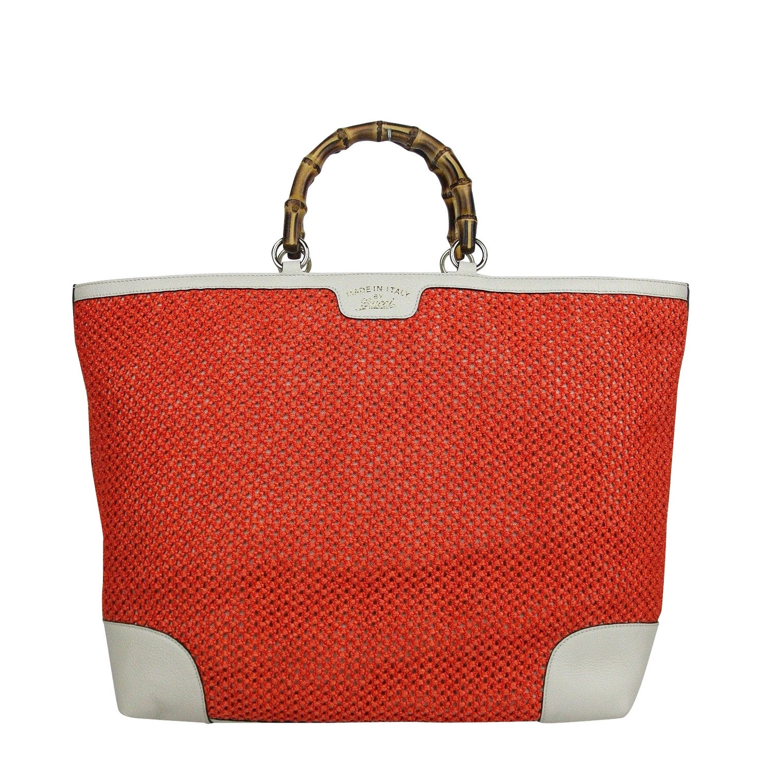 f4f35d2d02a967 Gucci Bamboo Orange Straw Leather Large Top Handle Tote Bag 338964 6273