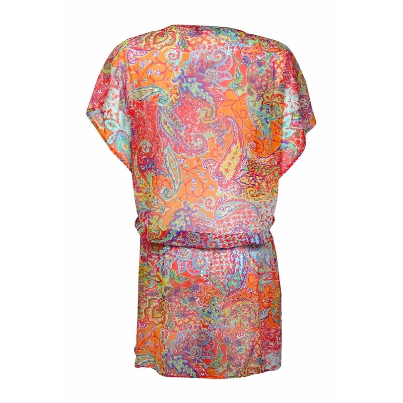 438ae3a96b7db Shop Lauren Ralph Lauren Women's Maharaja Paisley Poolside Tunic Cover-Up  (M, Coral) - Coral - M - On Sale - Free Shipping Today - Overstock -  21724155
