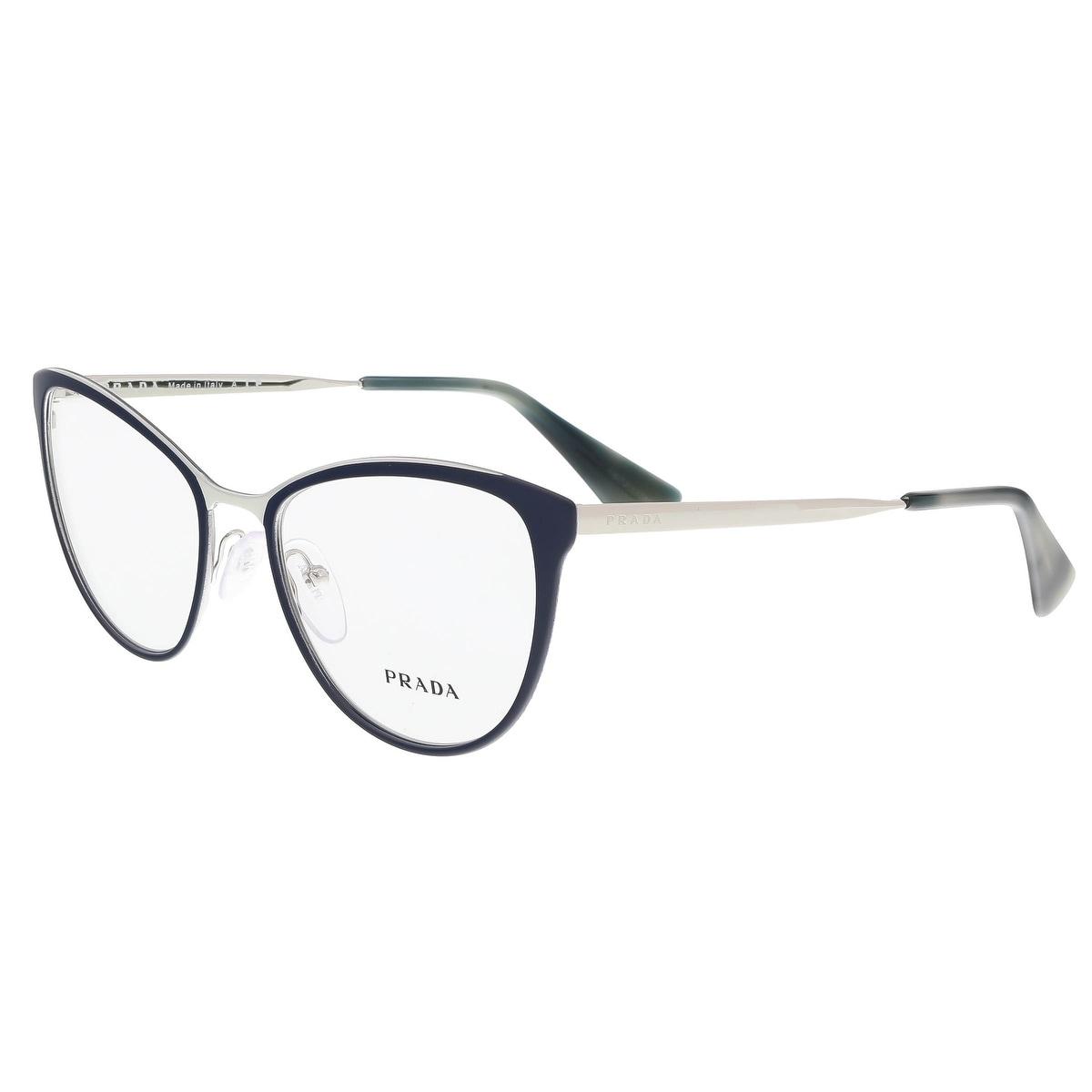 8412236ce970 Shop Prada PR 55TV U6R1O1 Matte Blue/Silver Cat Eye Optical Frames -  52-18-140 - Free Shipping Today - Overstock - 17768344