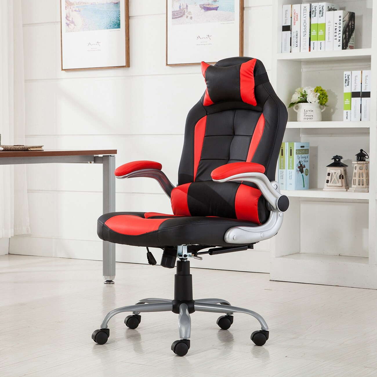 Belleze High Back Ergonomic Office Chair Recline Racing Style Computer Desk Lumbar Support Red And Black Free Shipping Today