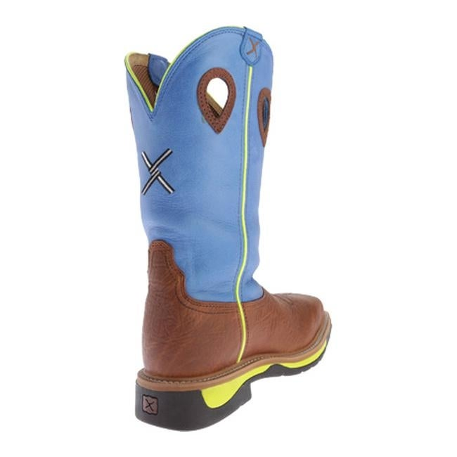 31ffece17a6 Twisted X Boots Men's MLCS012 Lite Weight Cowboy Work Brown Oiled  Shoulder/Neon Blue