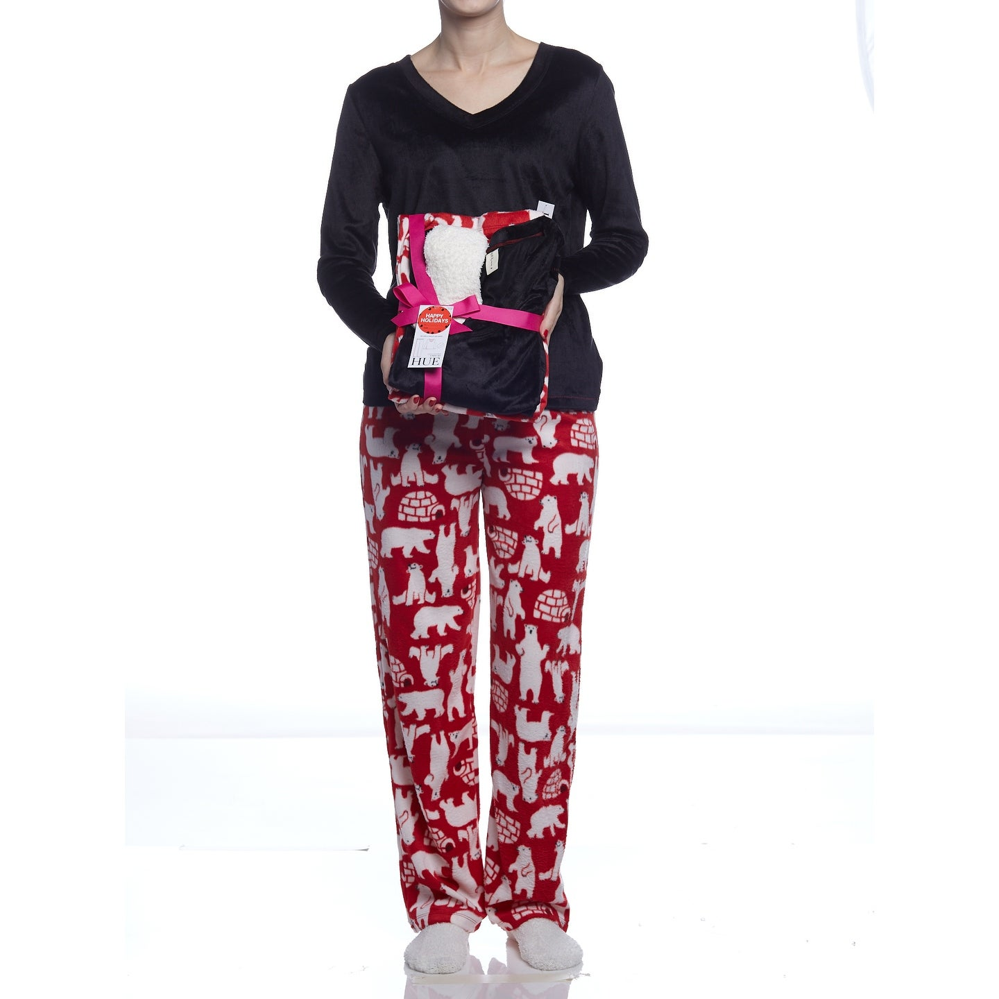 760d50a9b536 Shop Hue Sleepwear Women s Polar Bear Fleece Pajama Set With Socks ...