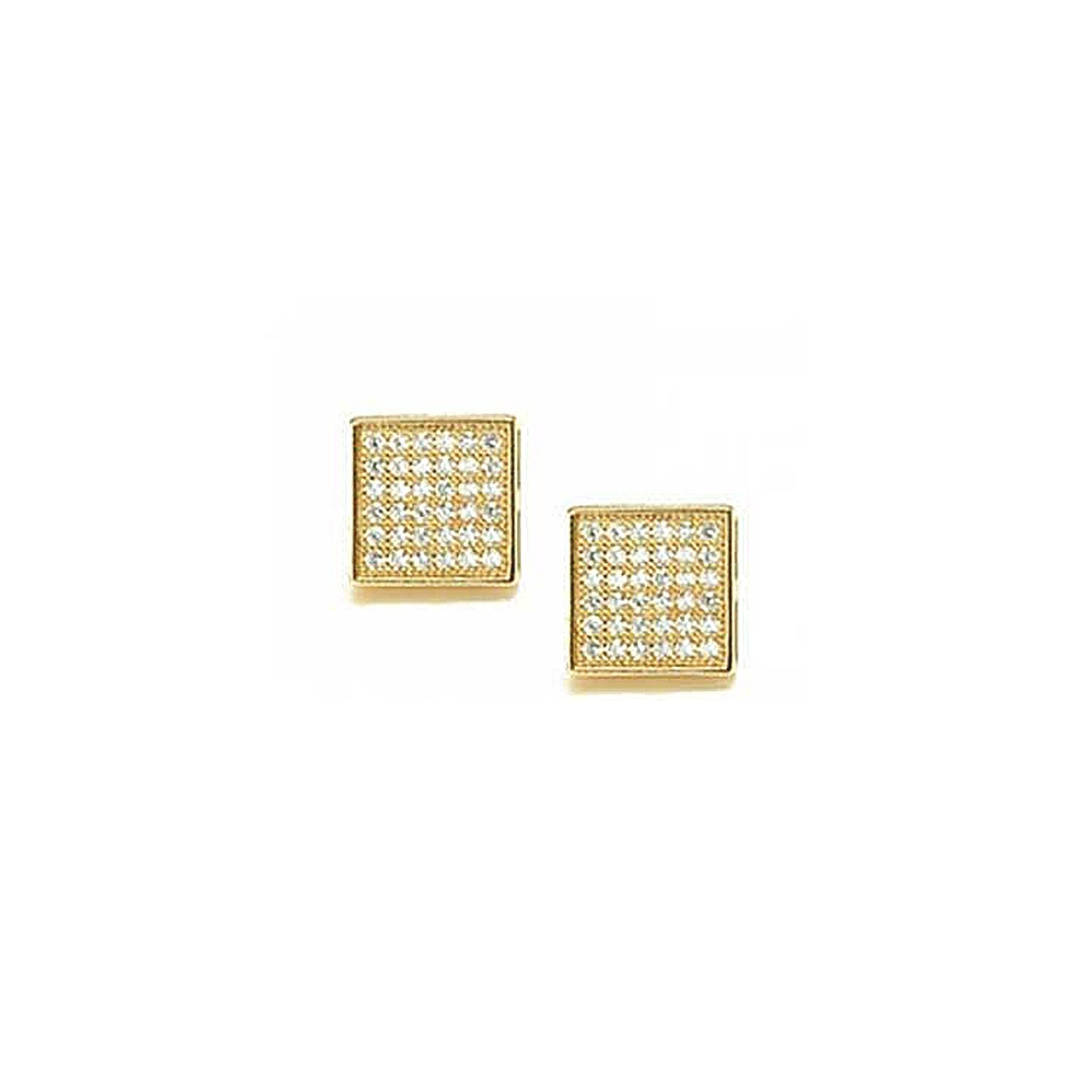 86ed88c94 Shop Bling Jewelry Micro Pave Hexagon Square Stud earrings Gold Plated 5mm  - On Sale - Free Shipping On Orders Over $45 - Overstock.com - 18037545