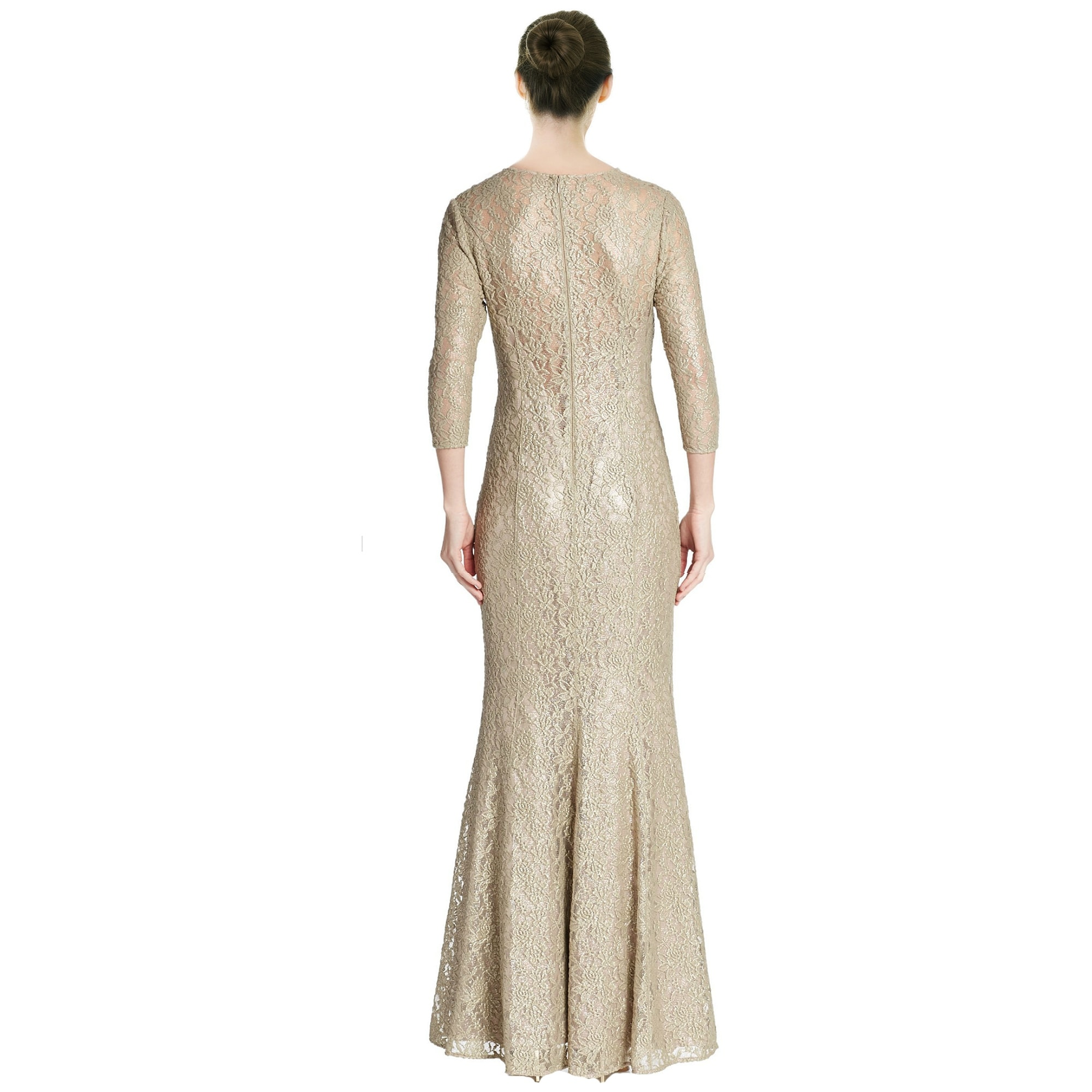Shop Kay Unger Three Quarter Sleeve Stretch Lace Evening Gown Dress ...