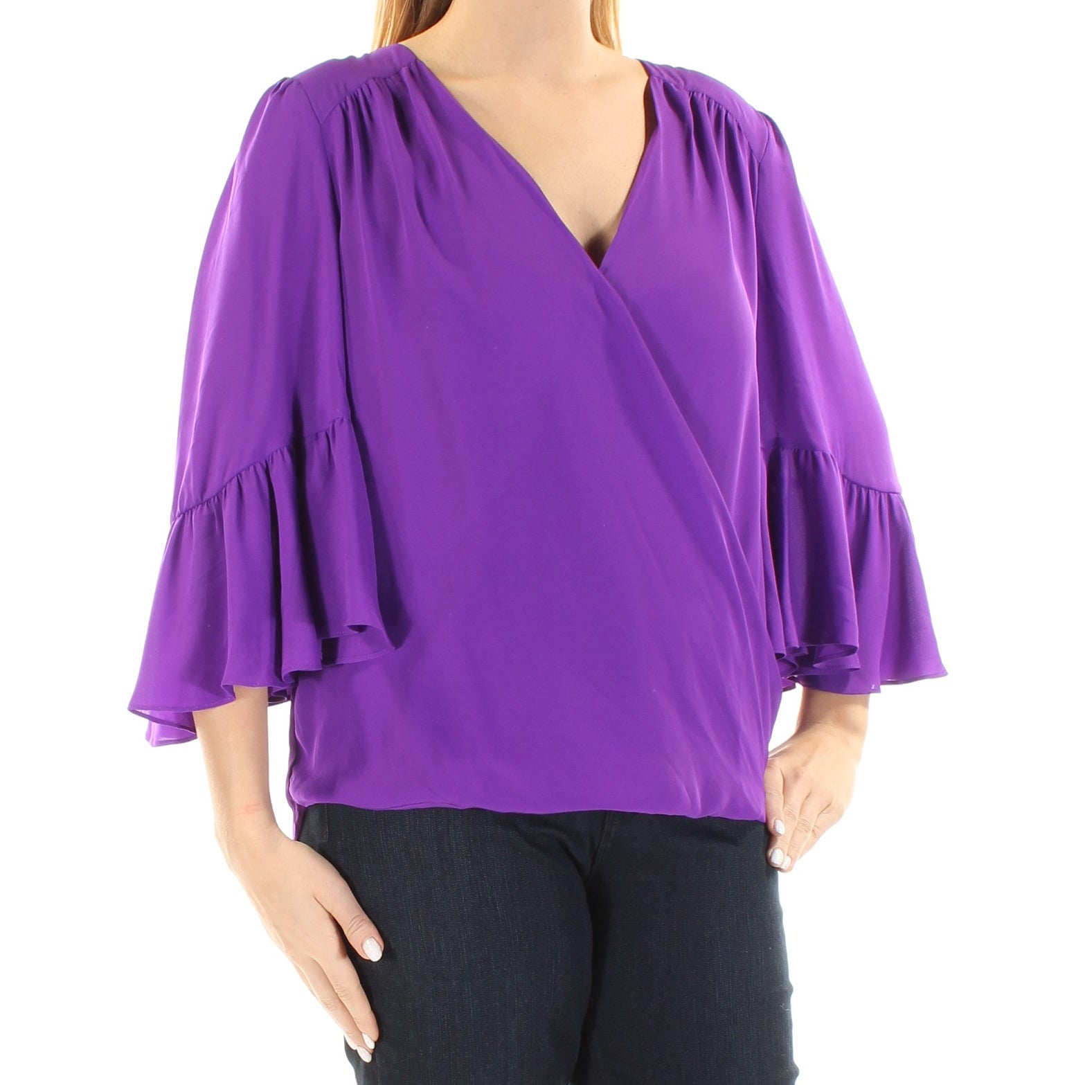 e46bef1b87ed Shop Womens Purple Bell Sleeve V Neck Casual Faux Wrap Top Size L - Free  Shipping On Orders Over $45 - Overstock - 22432757