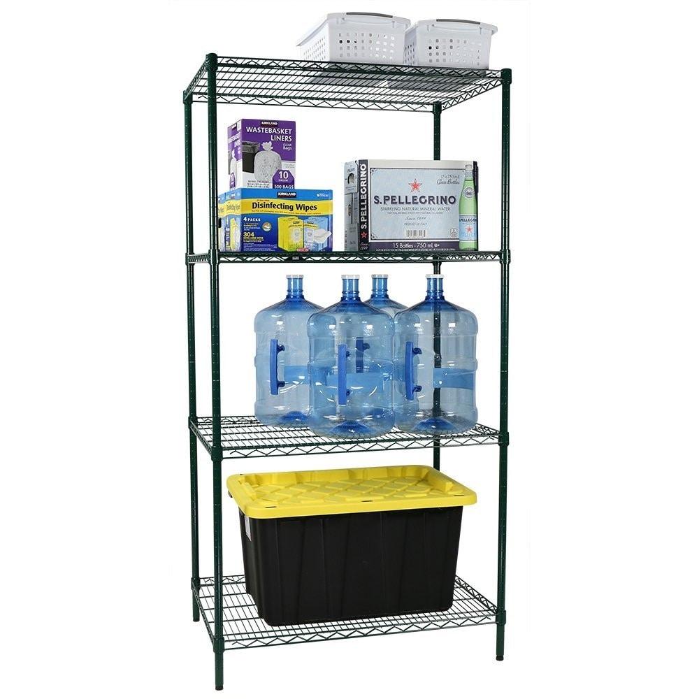 Shop Apollo Hardware Commercial Grade Green Epoxy 4-Shelf NSF Wire ...