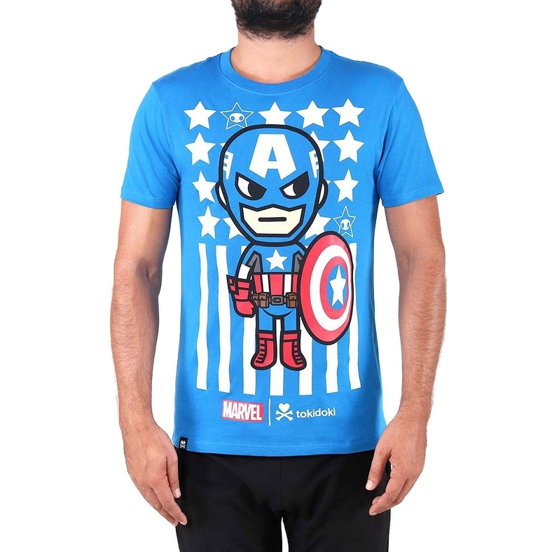0243b2a0 Shop Tokidoki Marvel Captain America Mens Blue T-Shirt Tee - On Sale - Free  Shipping On Orders Over $45 - Overstock - 18843637