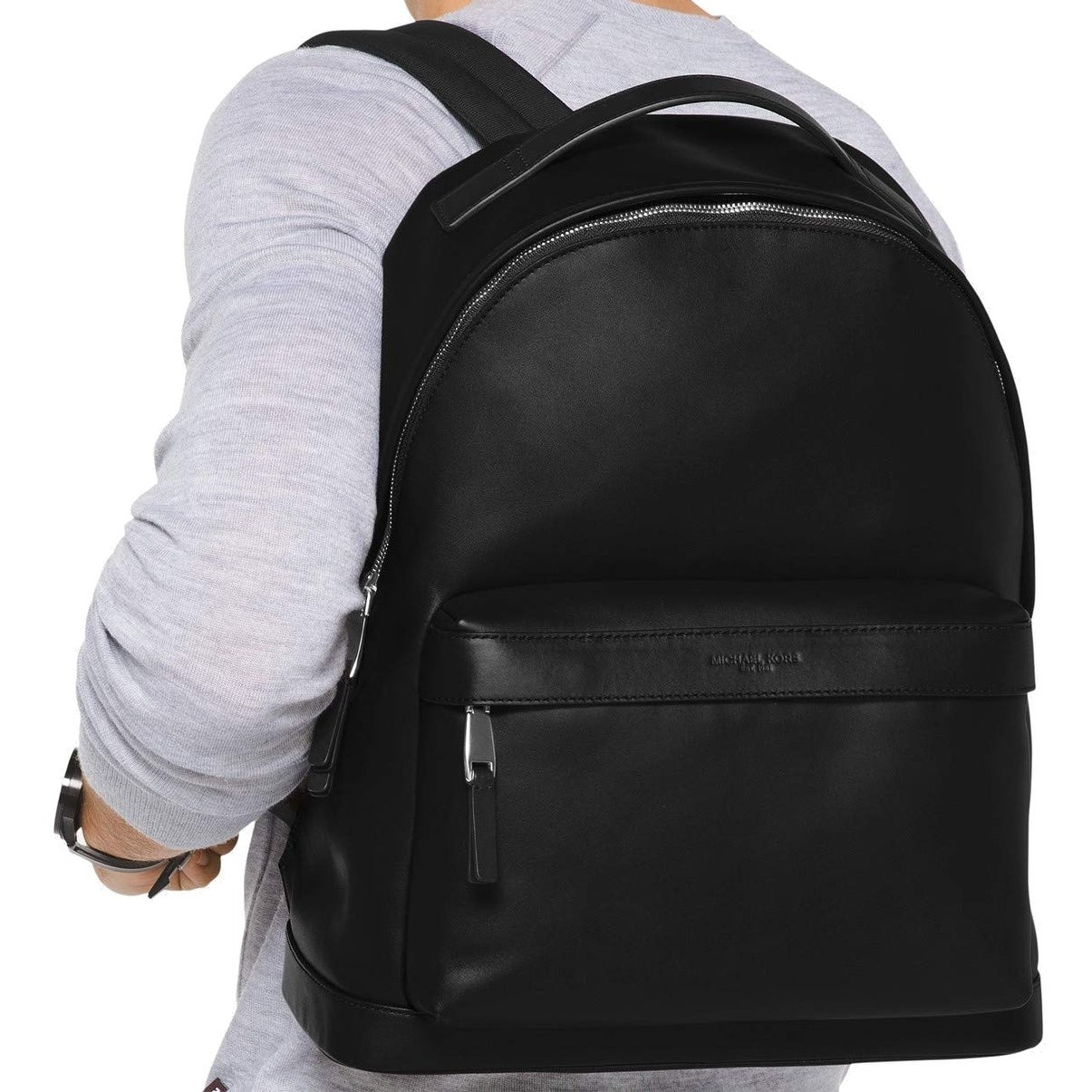 59de27e909abd5 Shop Michael Kors Black Solid Zip Odin Backpack Classic Leather Back - Free  Shipping Today - Overstock - 27997446