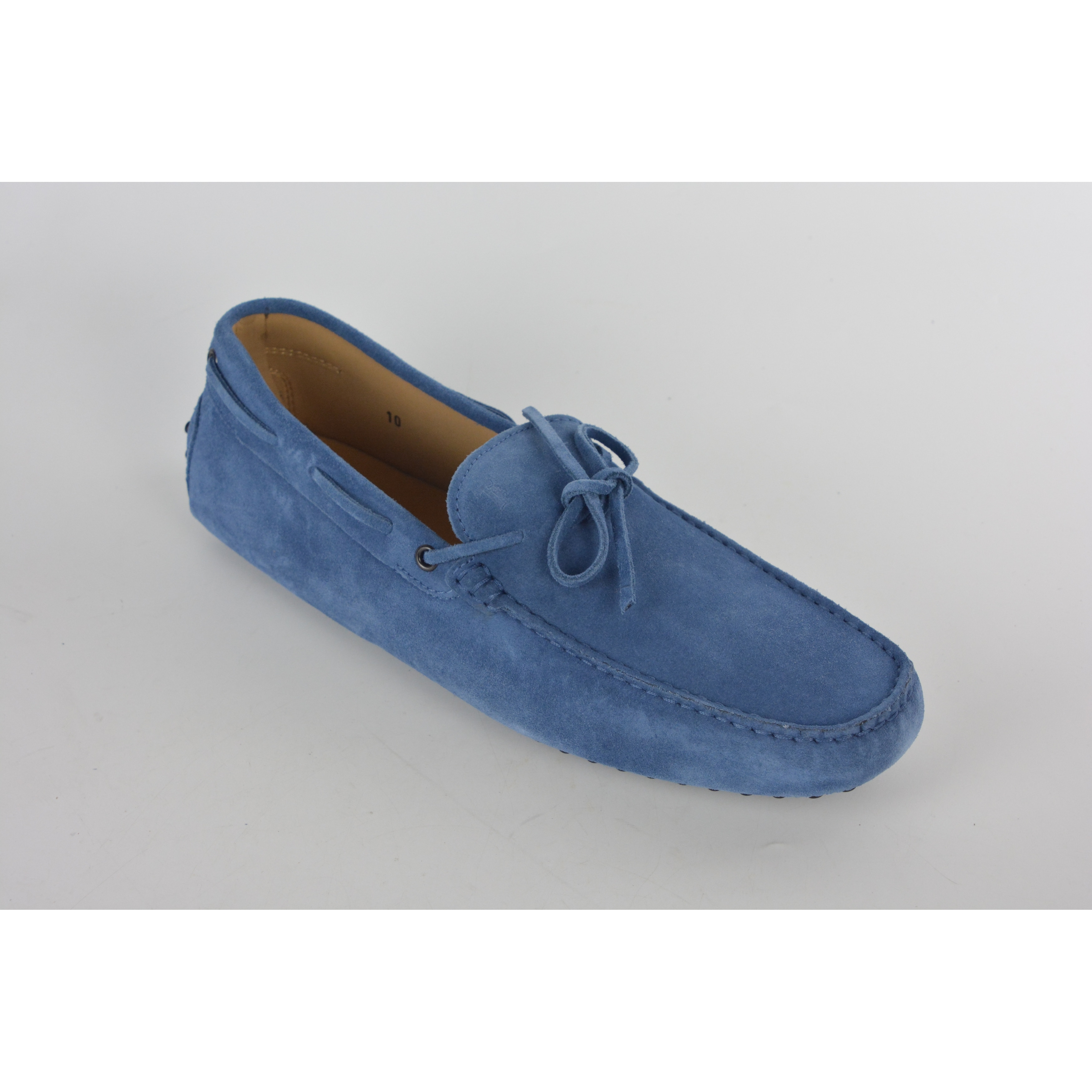 Shop Tod\'s Men\'s Light Navy Suede Slip On Self-Tie Driver Loafers ...