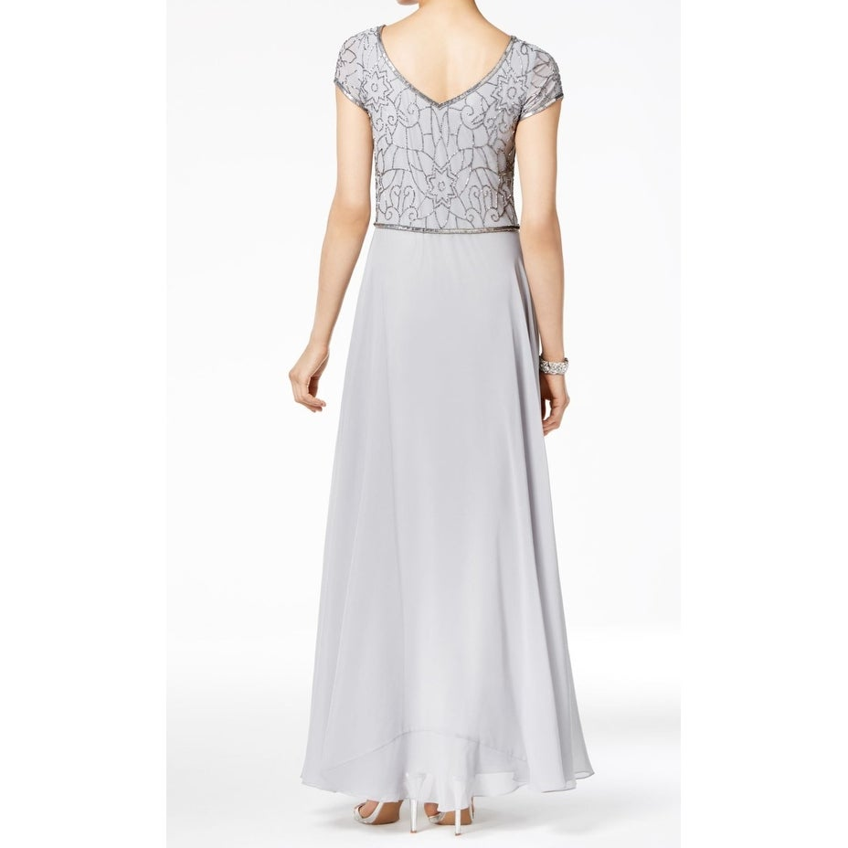 JKARA NEW Silver Womens Size 16 Embellished V-Neck A-Line Ball Gown ...