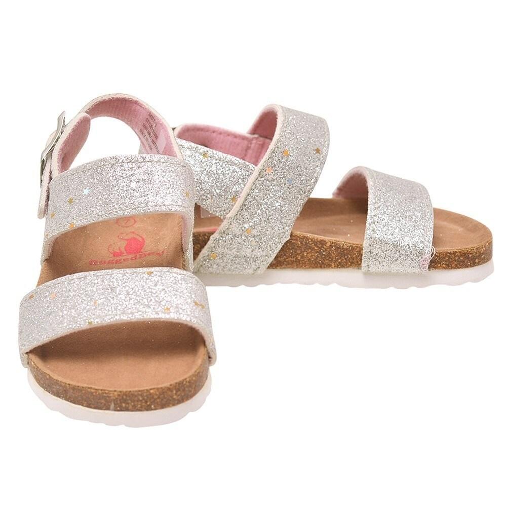 848119bc2d8932 Shop Rugged Bear Little Girls Silver Glitter Buckle Strap Cork Sandals -  Ships To Canada - Overstock - 23085595