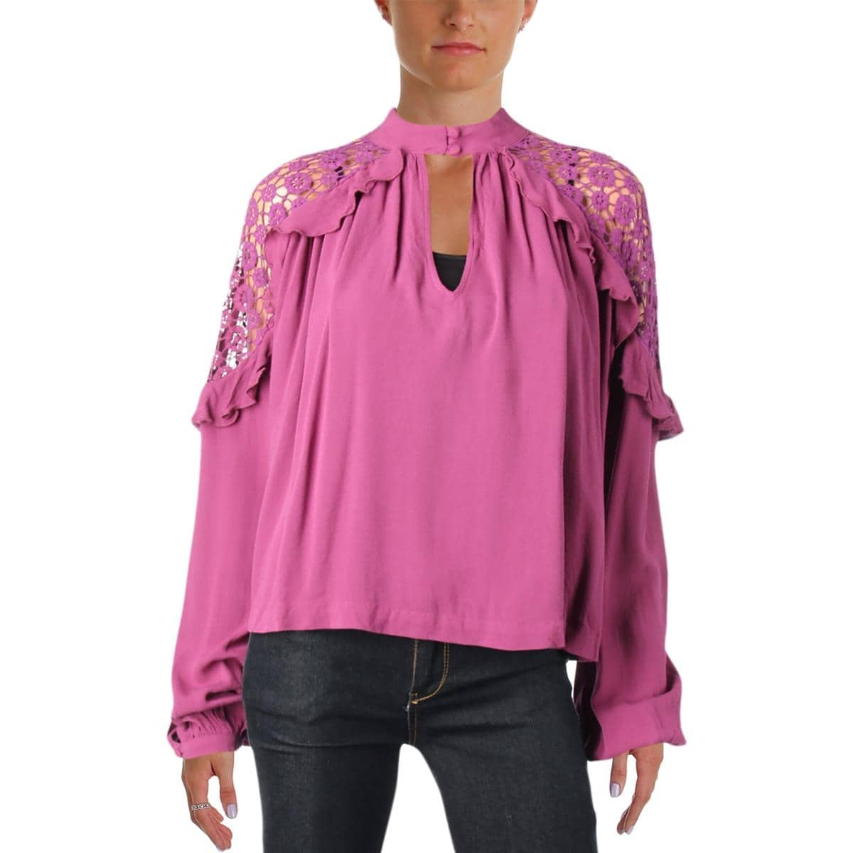 f8b4bf13eae Shop Free People Womens Blouse Crochet Trim V-Neck - Free Shipping On  Orders Over $45 - Overstock - 23147232