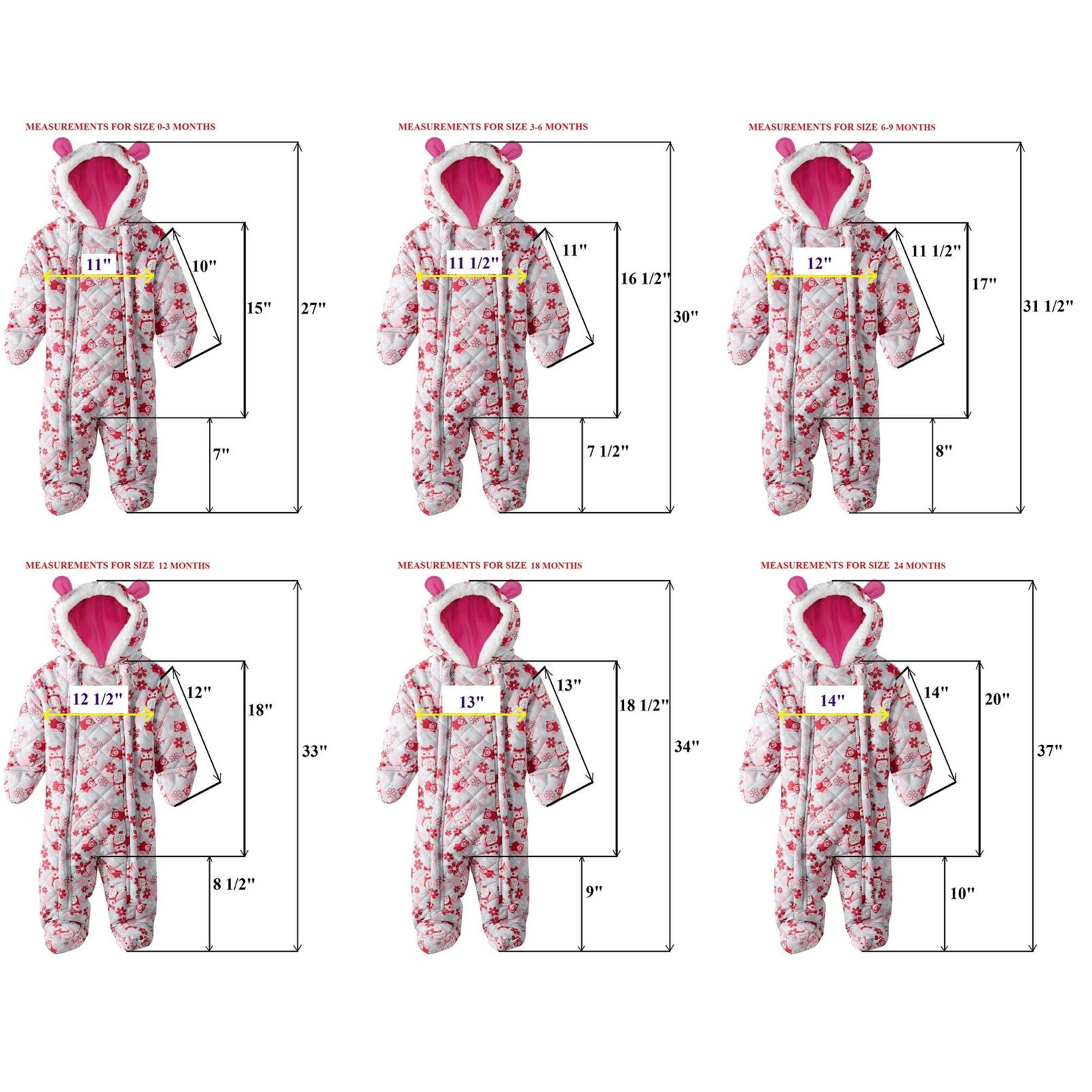 89ff3ecc58ee Shop Pink Platinum Baby Girls Snowsuit Pram Owl Microfleece Quilted ...