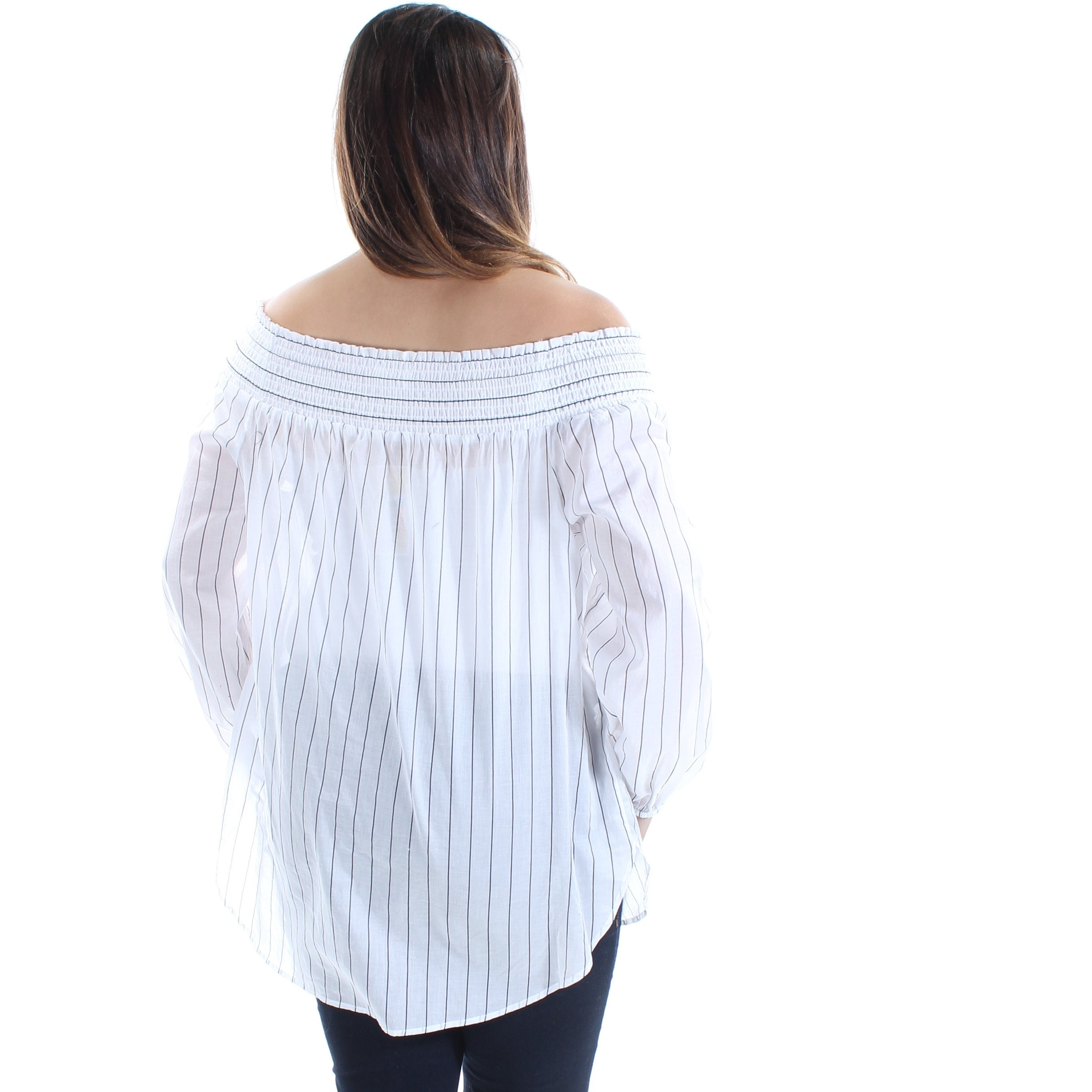 cb8817ab6d68e1 Shop MICHAEL KORS Womens White Striped Long Sleeve Off Shoulder Top Size  L  - Free Shipping On Orders Over  45 - Overstock - 22644835