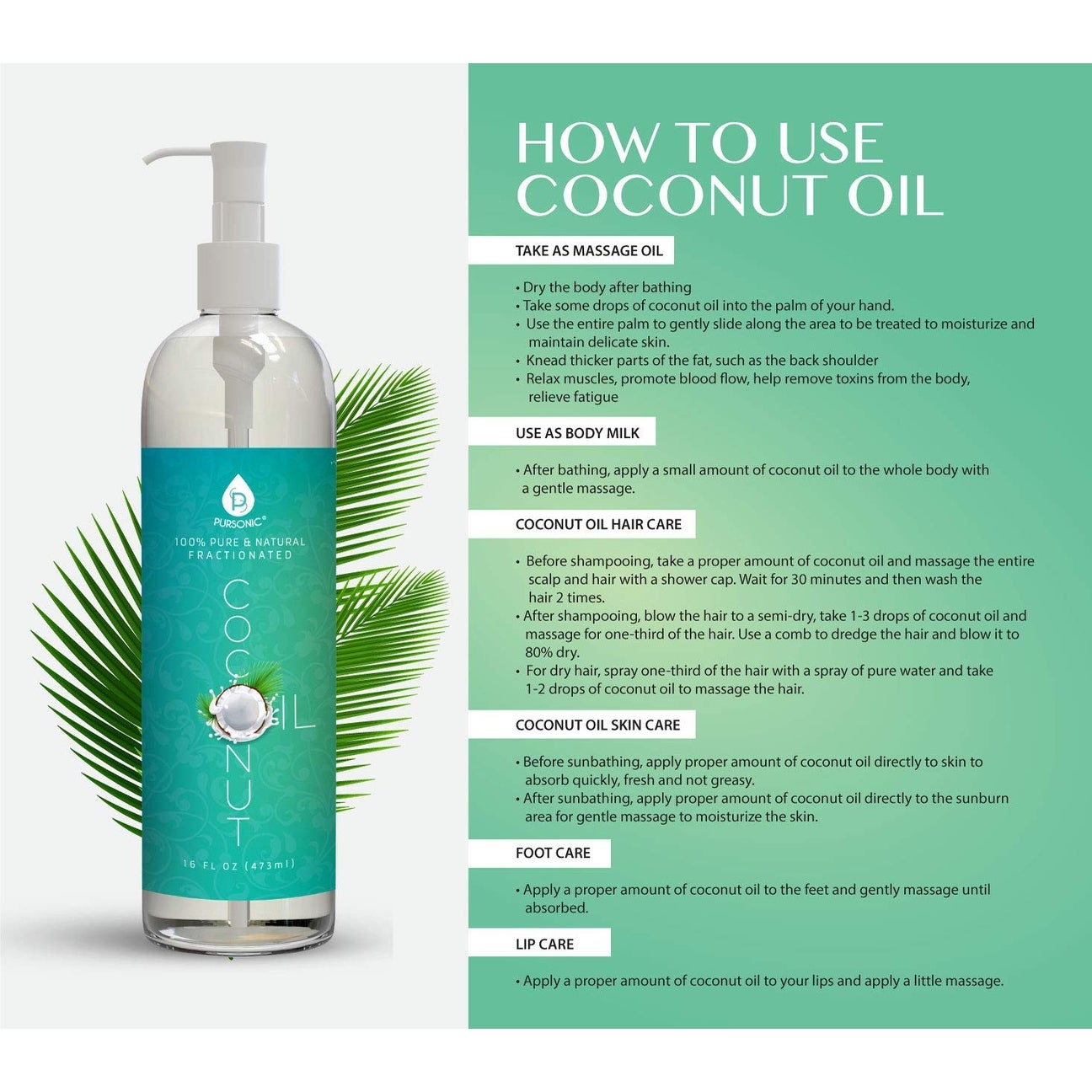 Pursonic 100% Pure Fractionated 8-ounce Coconut Oil
