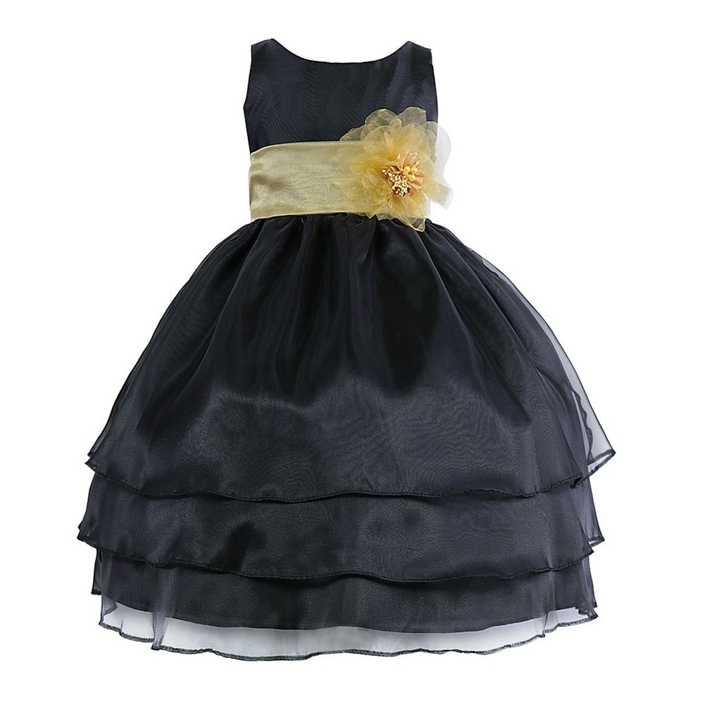 Little Girls Black Yellow Floral Sash Flower Girl Dress 2t 6 Free