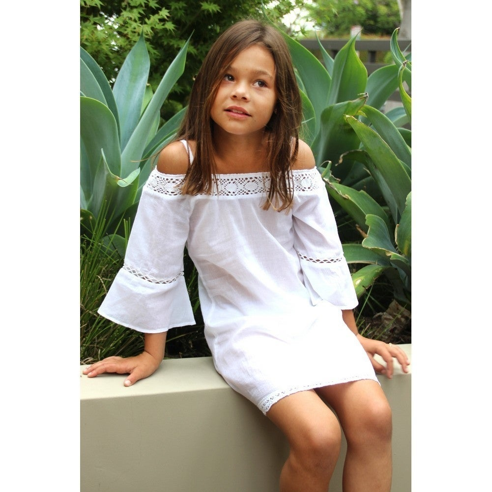 37cde2f0a35 Shop Azul Girls White Peasant Look Cold Shoulder Strap Lace Dress - Free  Shipping On Orders Over  45 - Overstock.com - 20596190
