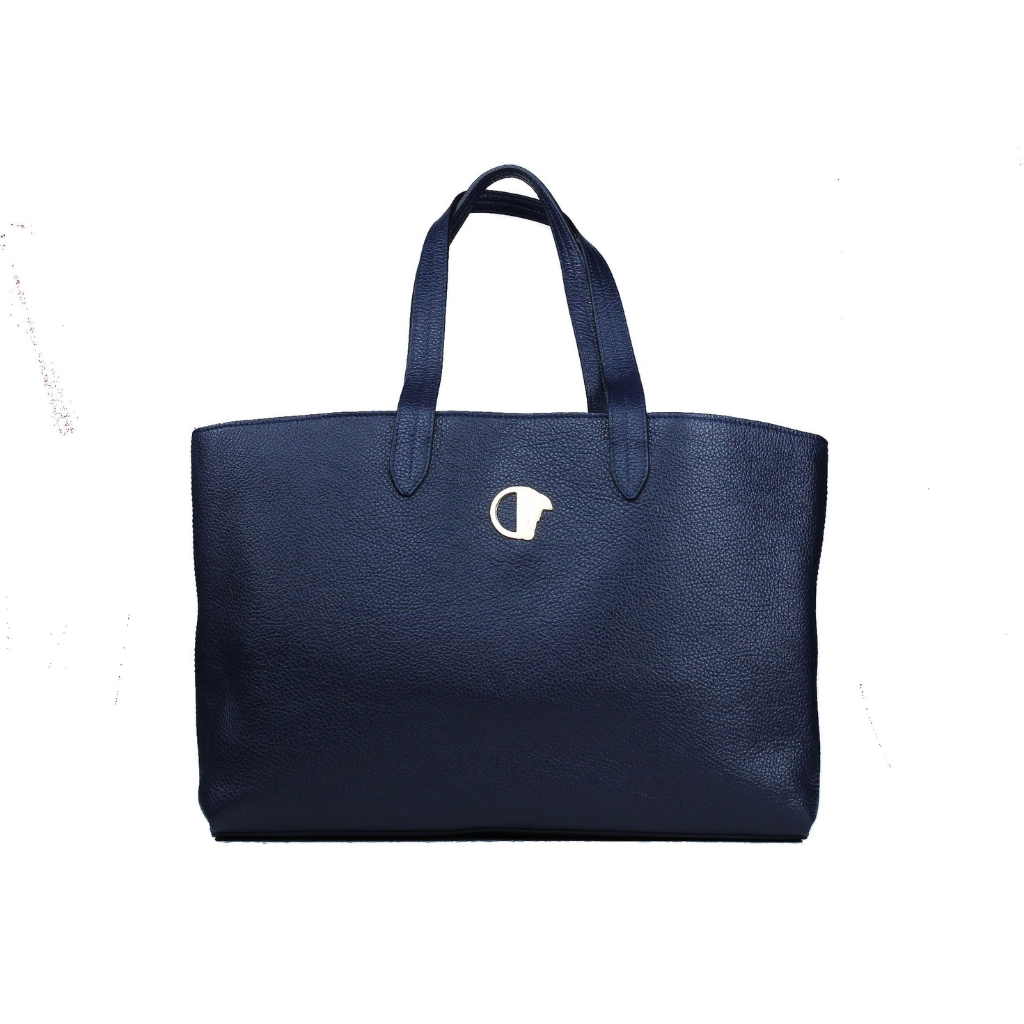 ddcafb2524 Versace Collection Navy Pebbled Leather Medusa Logo Top Handle Tote Bag