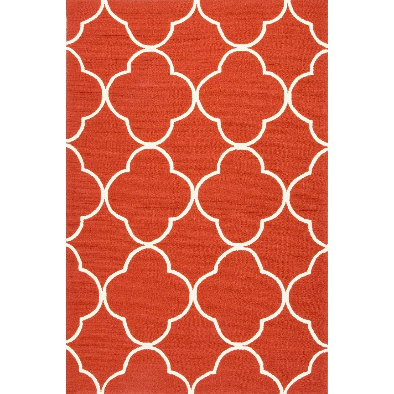35 X 55 Geometric Patterned Red And White Sparten Outdoor