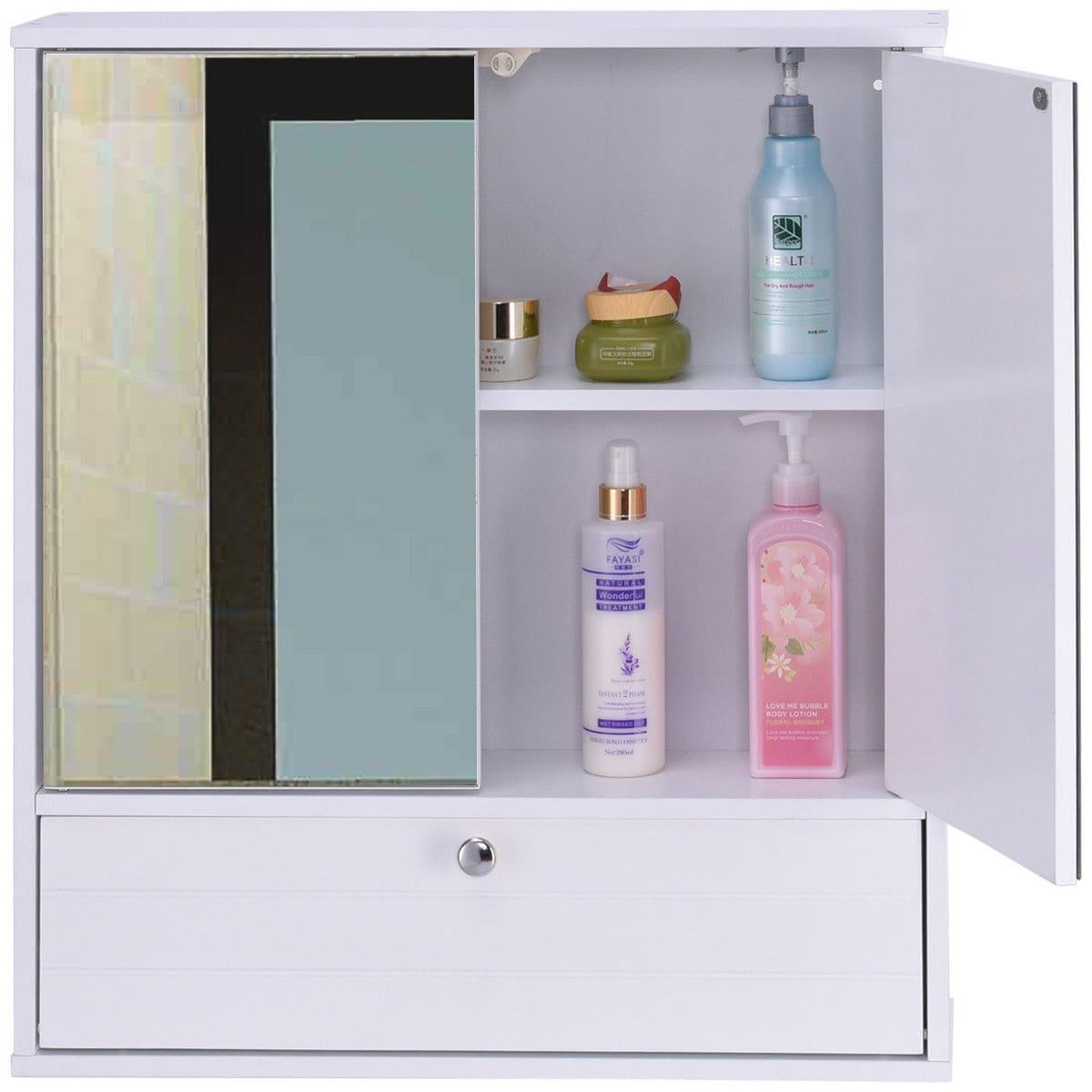 Shop Costway Bathroom Cabinet Double Mirror Door Wall Mount Storage ...