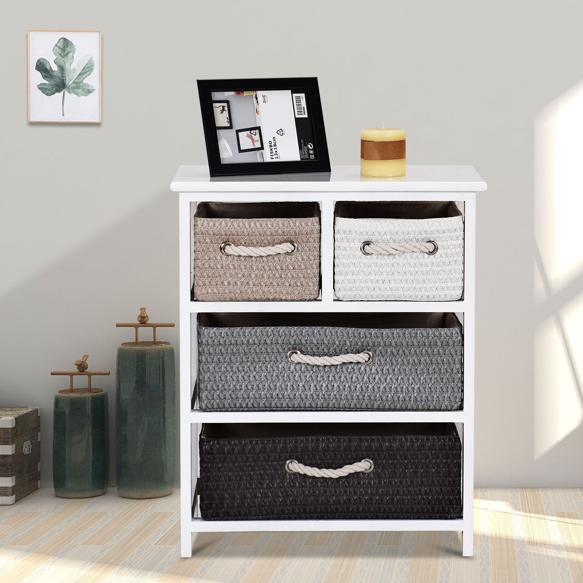 Gymax Storage Drawer Unit 4 Woven Basket Cabinet Chest Bedside Table Nightstand As Pic On Free Shipping Today 25455516